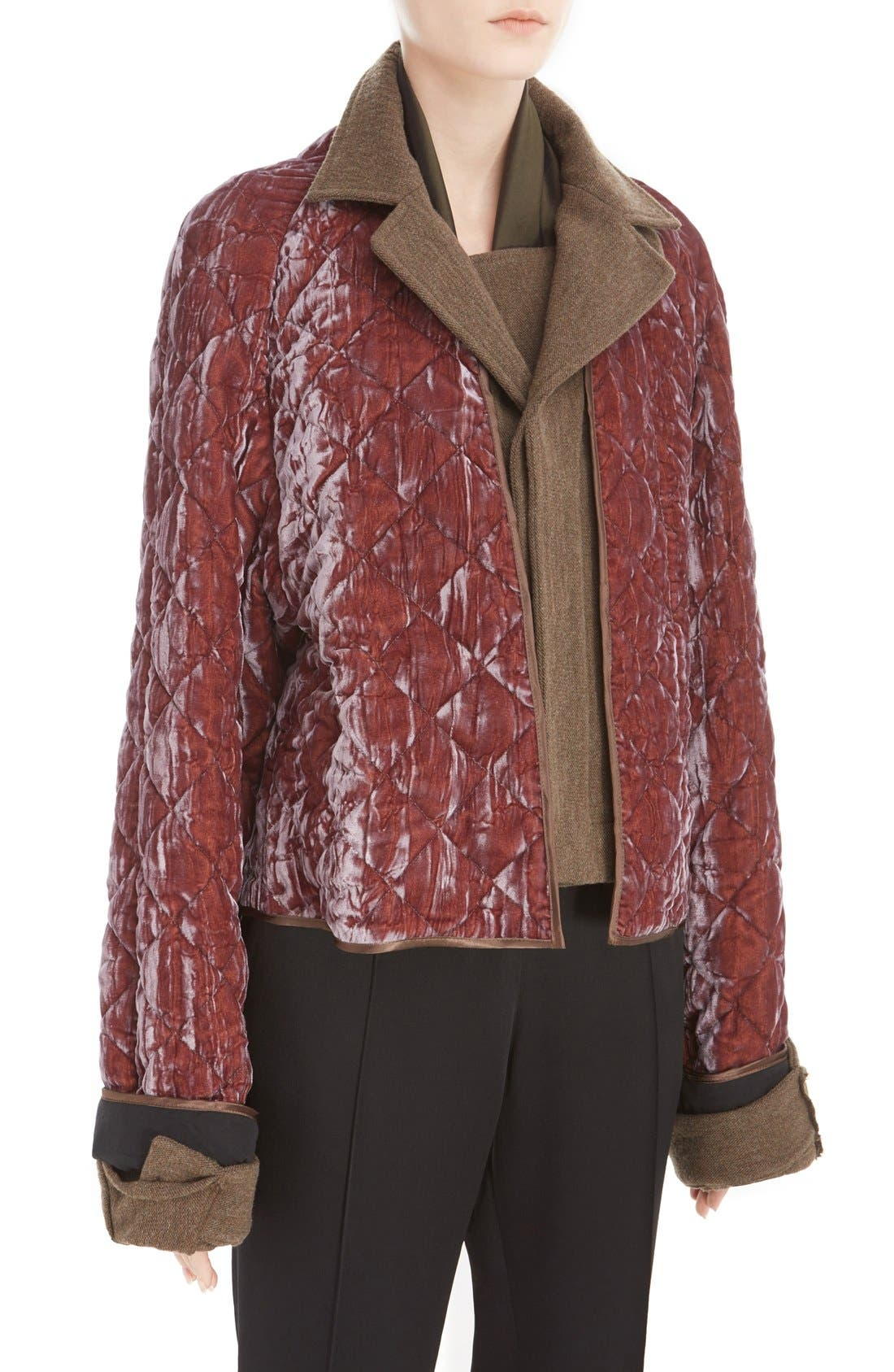 Alternate Image 6  - Haider Ackermann Contrast Detail Quilted Velvet Bomber Jacket