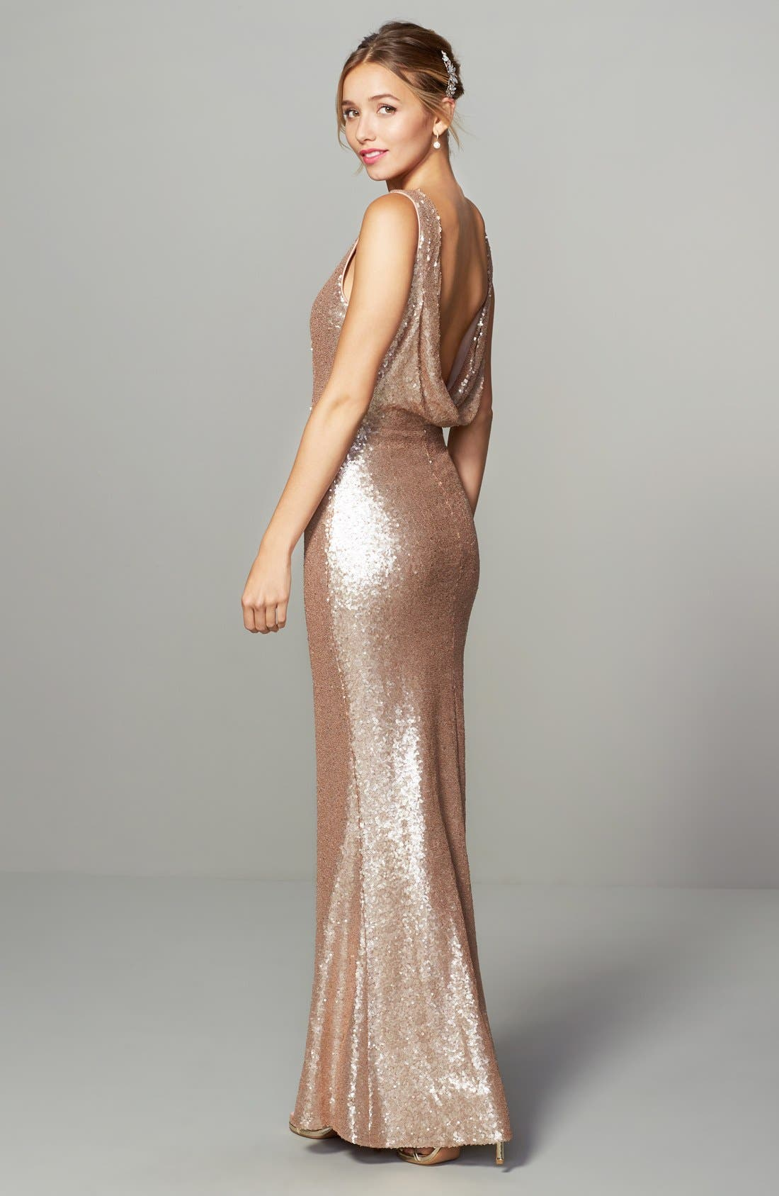 Alternate Image 7  - Lulus Sleeveless Sequin Drape Back Gown