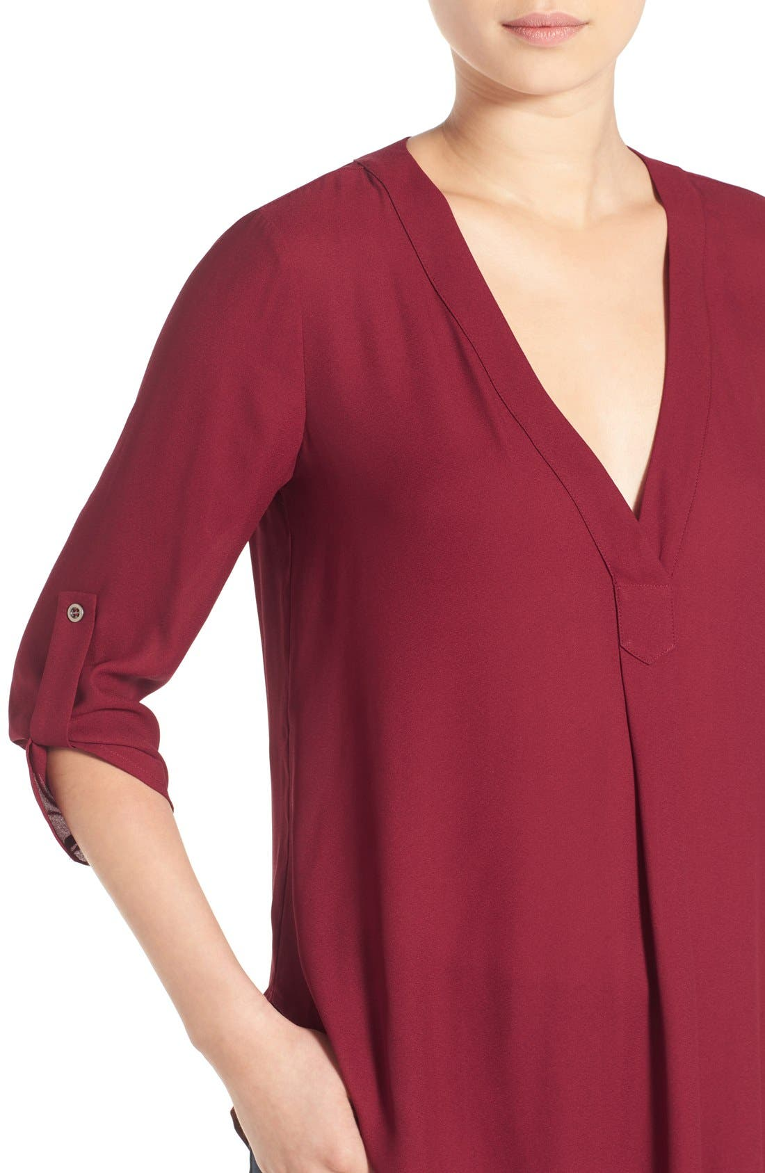 Alternate Image 4  - Lush V-Neck Crepe Blouse