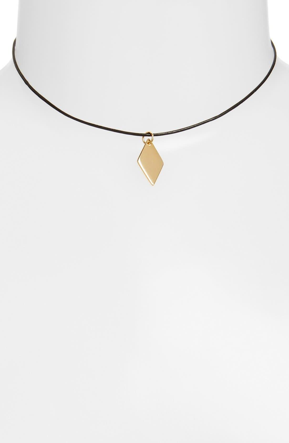 Alternate Image 1 Selected - Vanessa Mooney Geometric Charm Leather Choker