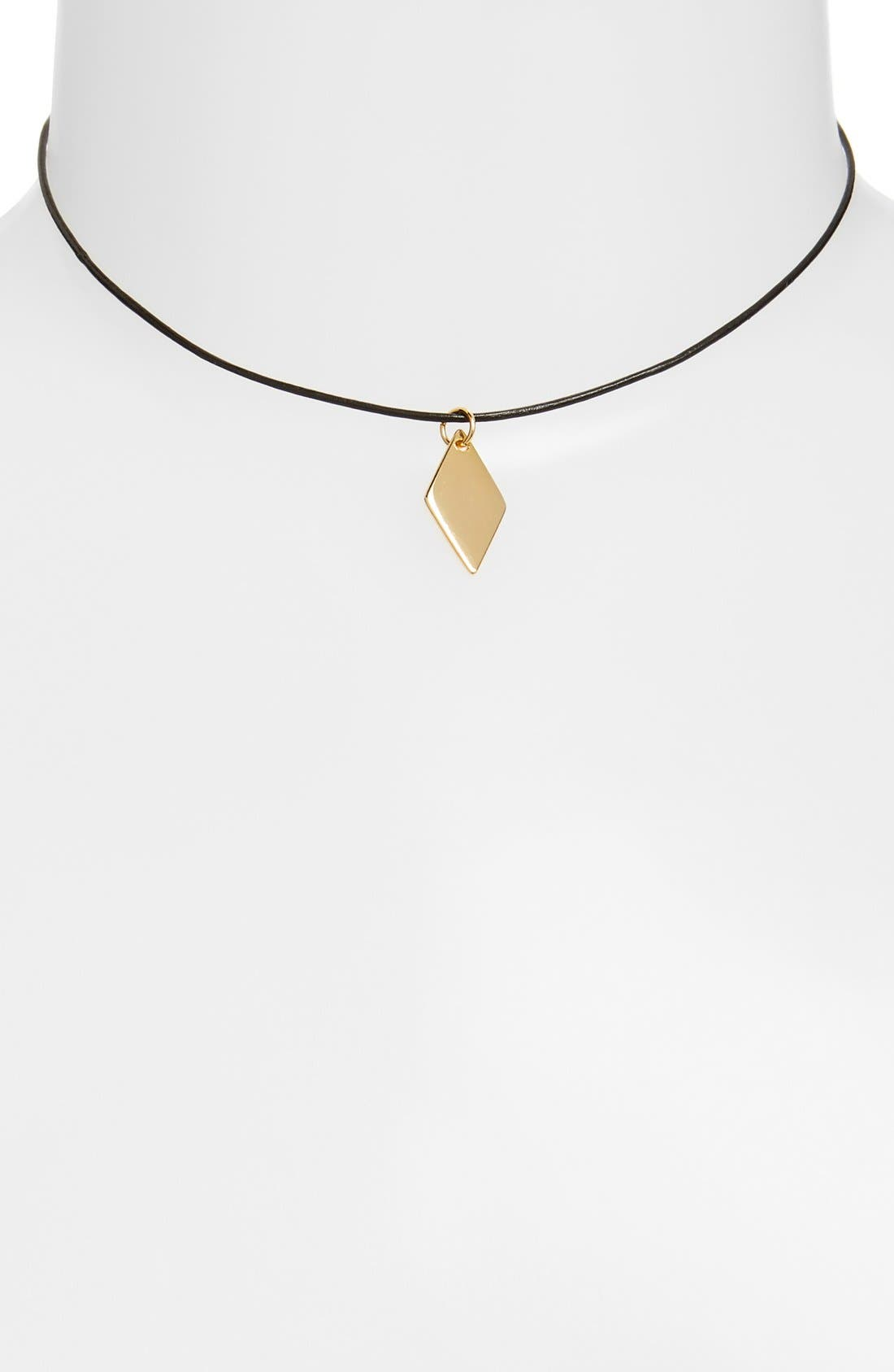 Main Image - Vanessa Mooney Geometric Charm Leather Choker