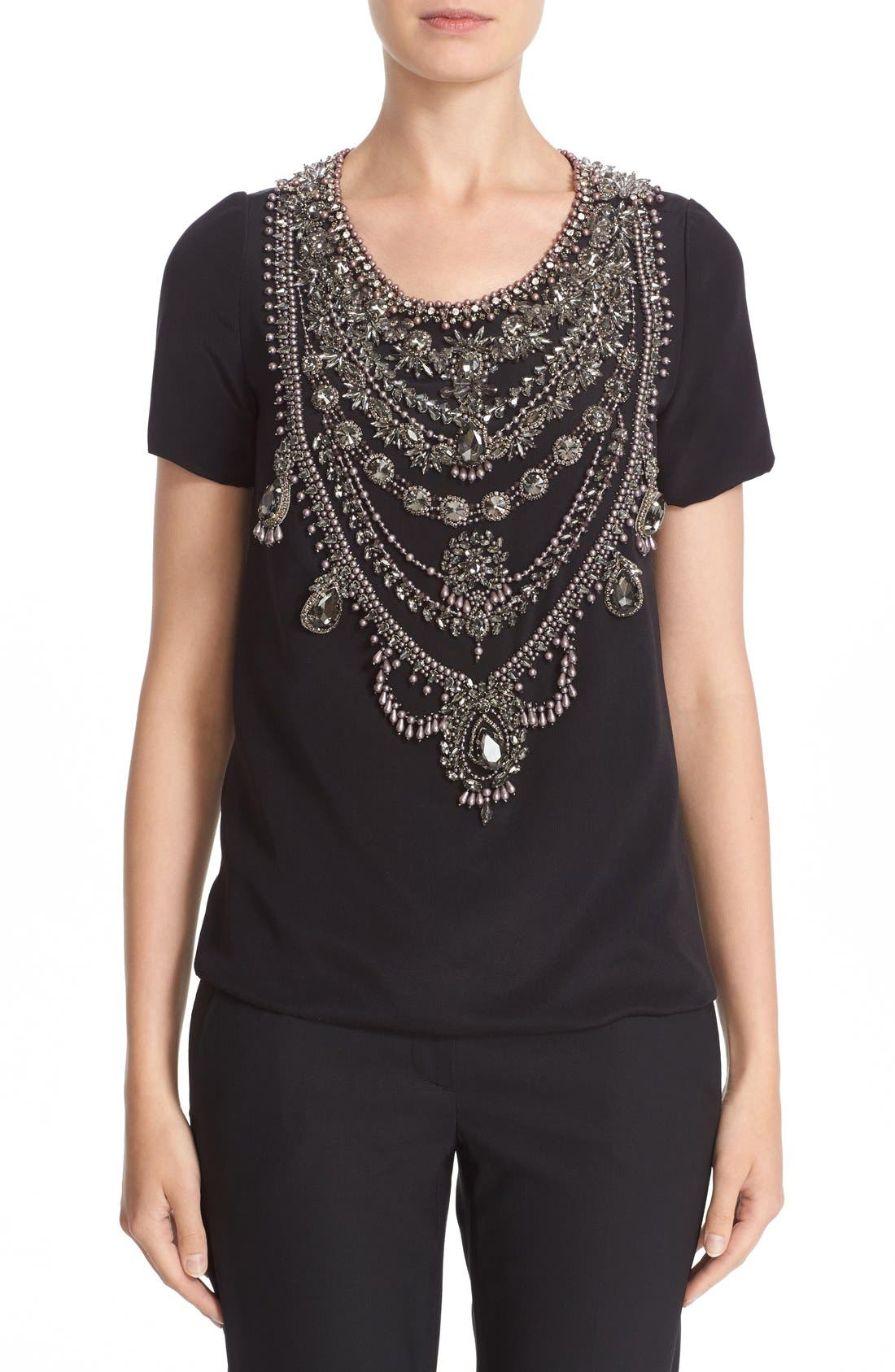 MARCHESA Embellished Crepe Top