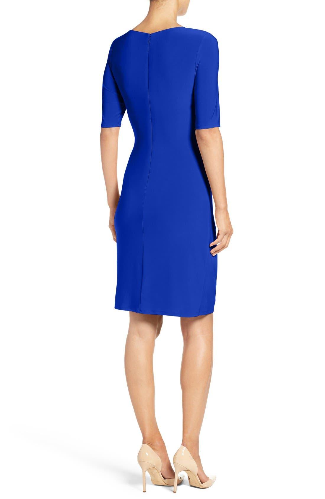 Alternate Image 2  - Eliza J Ruched Jersey Sheath Dress (Regular & Petite)