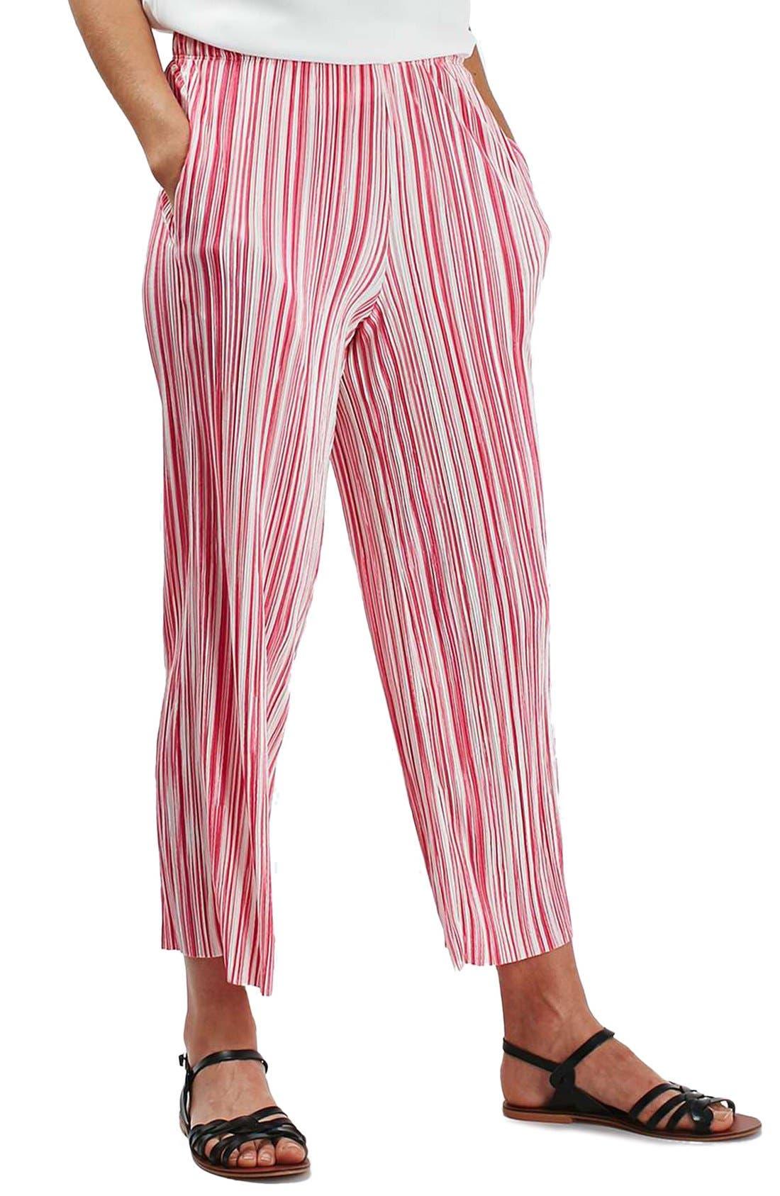 Main Image - Topshop Stripe Pleat Crop Trousers