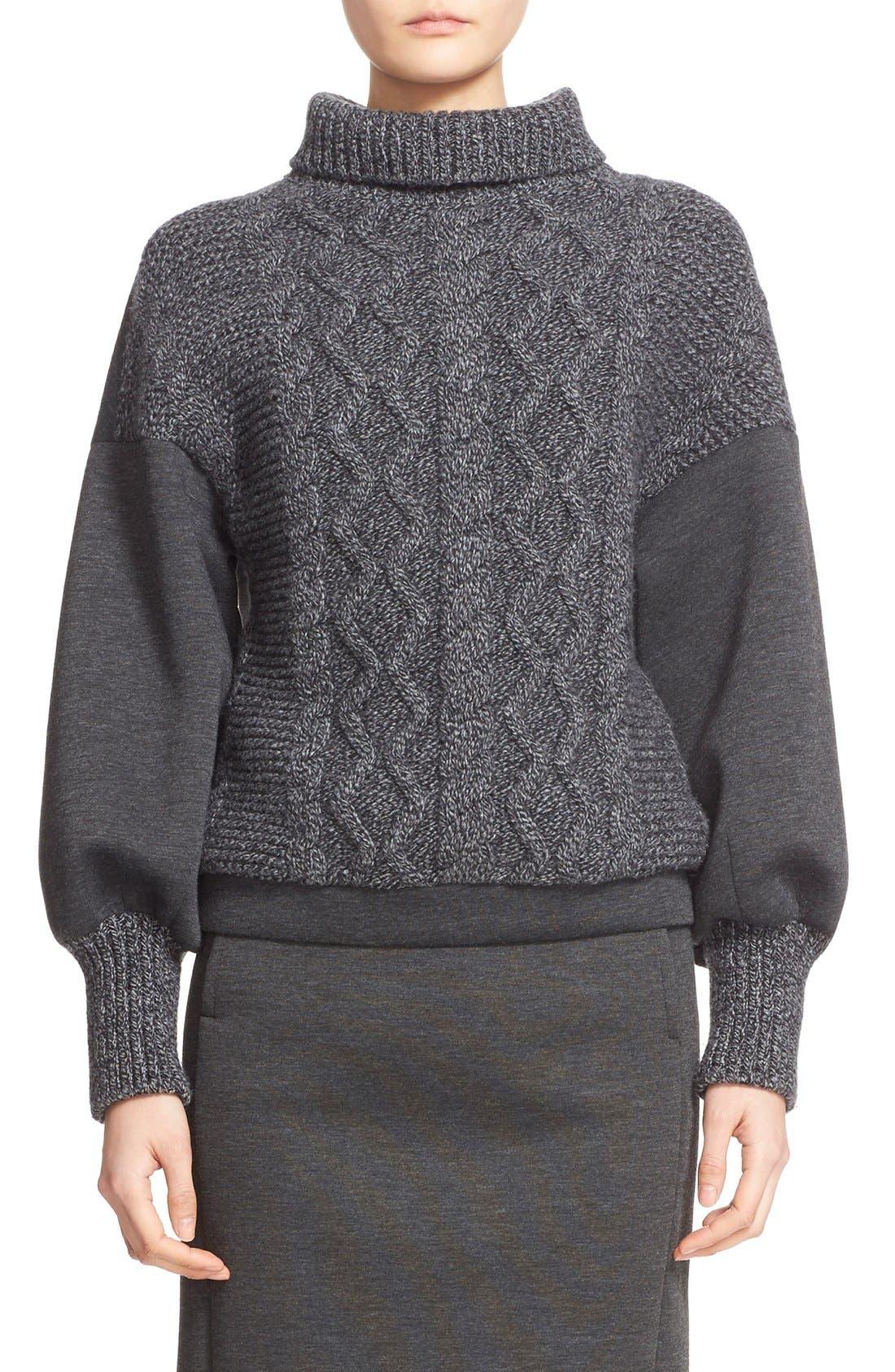Alternate Image 1  - Tomas Maier Cable Knit & Scuba Fleece Turtleneck