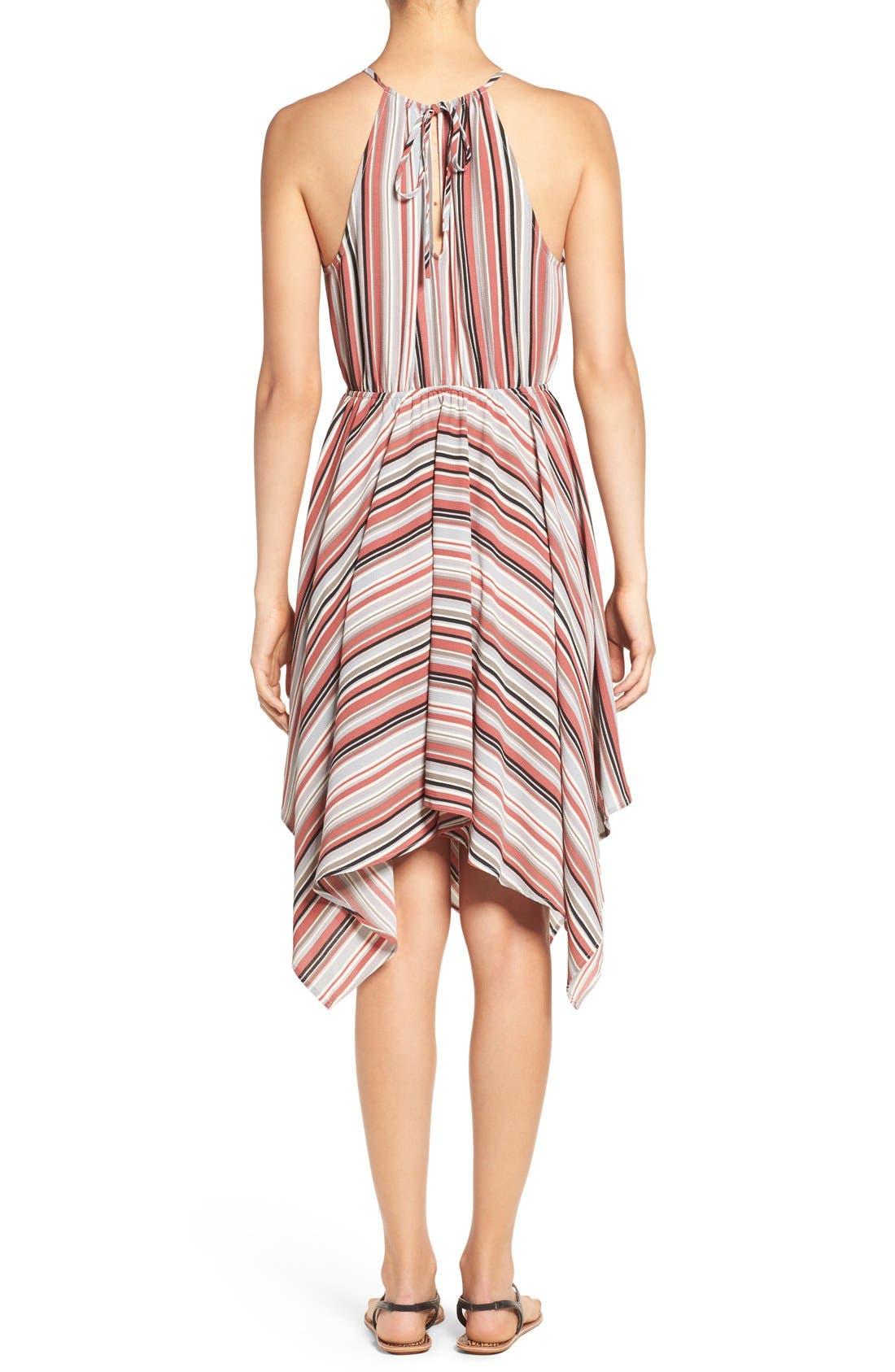 Alternate Image 2  - Soprano Stripe Handkerchief Hem Halter Dress