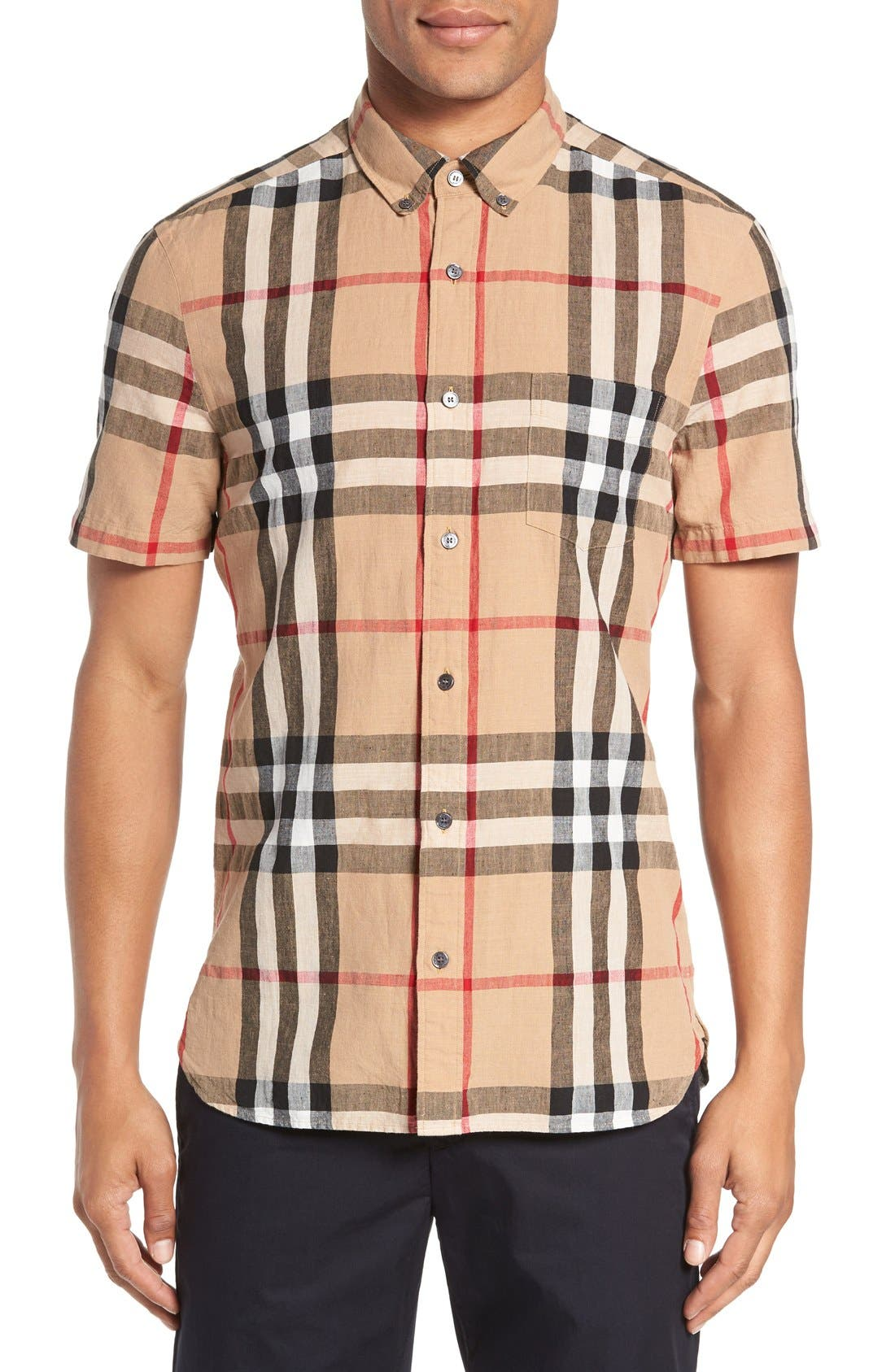 Burberry 'Elfords' Slim Fit Short Sleeve Check Linen & Cotton Sport Shirt