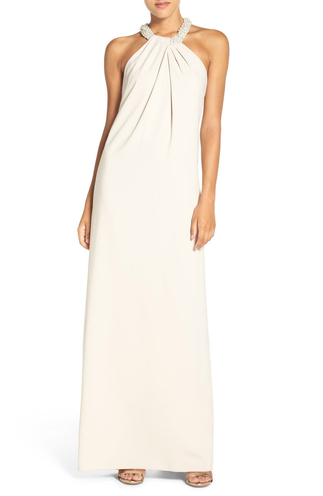 DESSY COLLECTION Beaded Halter Neck Crepe Gown
