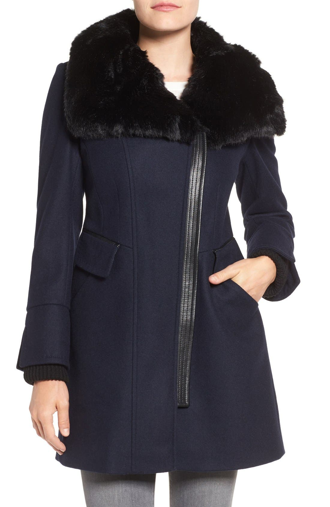 Via Spiga Faux Fur Trim Asymmetrical Wool Blend Coat