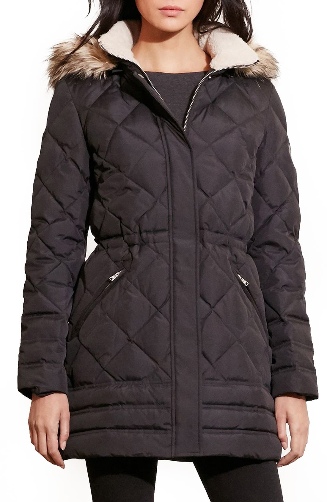 Main Image - Lauren Ralph Lauren Quilted Jacket with Faux Fur Trim