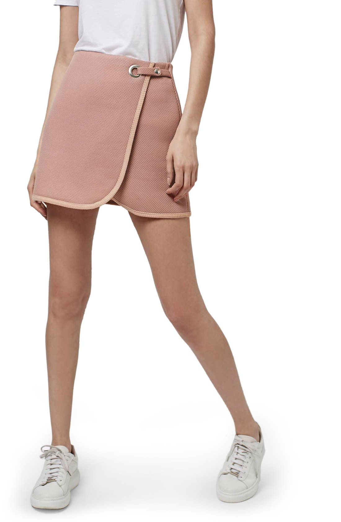 Main Image - Topshop Airtex Wrap Miniskirt