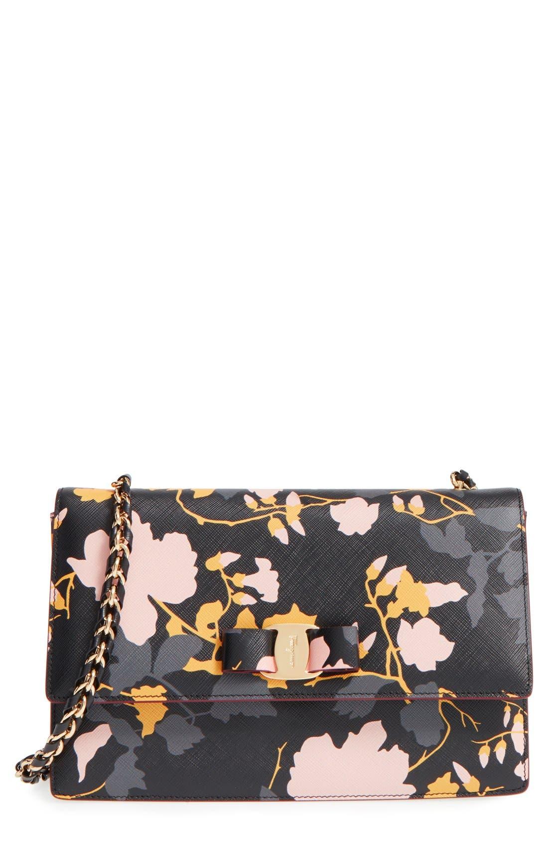 Alternate Image 1 Selected - Salvatore Ferragamo 'Medium Ginny Floral' Shoulder Bag
