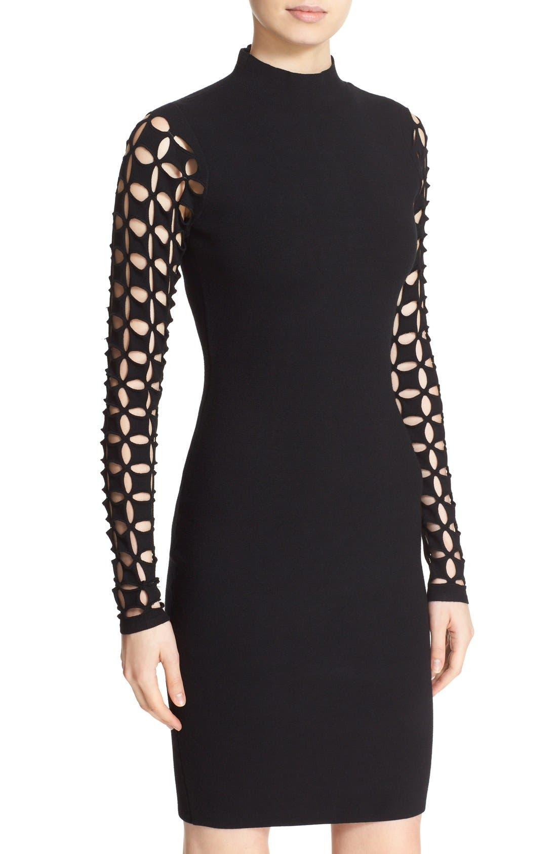 Alternate Image 4  - Milly Lattice Sleeve Fitted Knit Dress