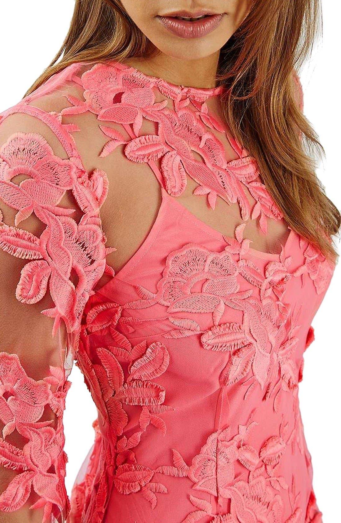 Alternate Image 5  - Topshop Lace Appliqué Long Sleeve Minidress