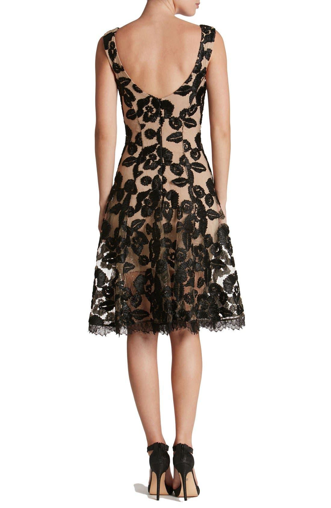 Alternate Image 2  - Dress the Population Maya Lace Fit & Flare Dress