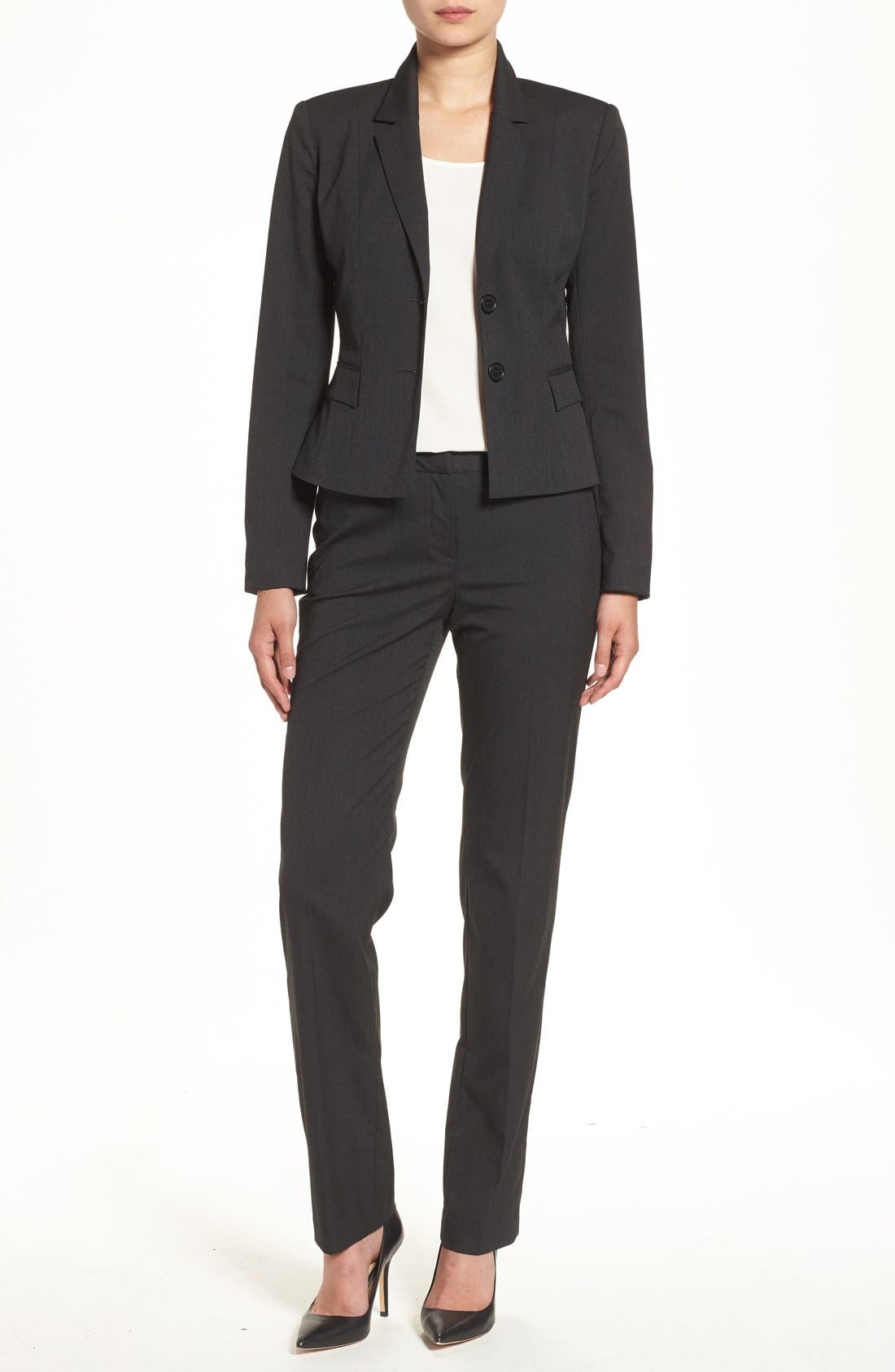 Alternate Image 6  - Halogen® Mini Stripe Suit Jacket (Regular & Petite)