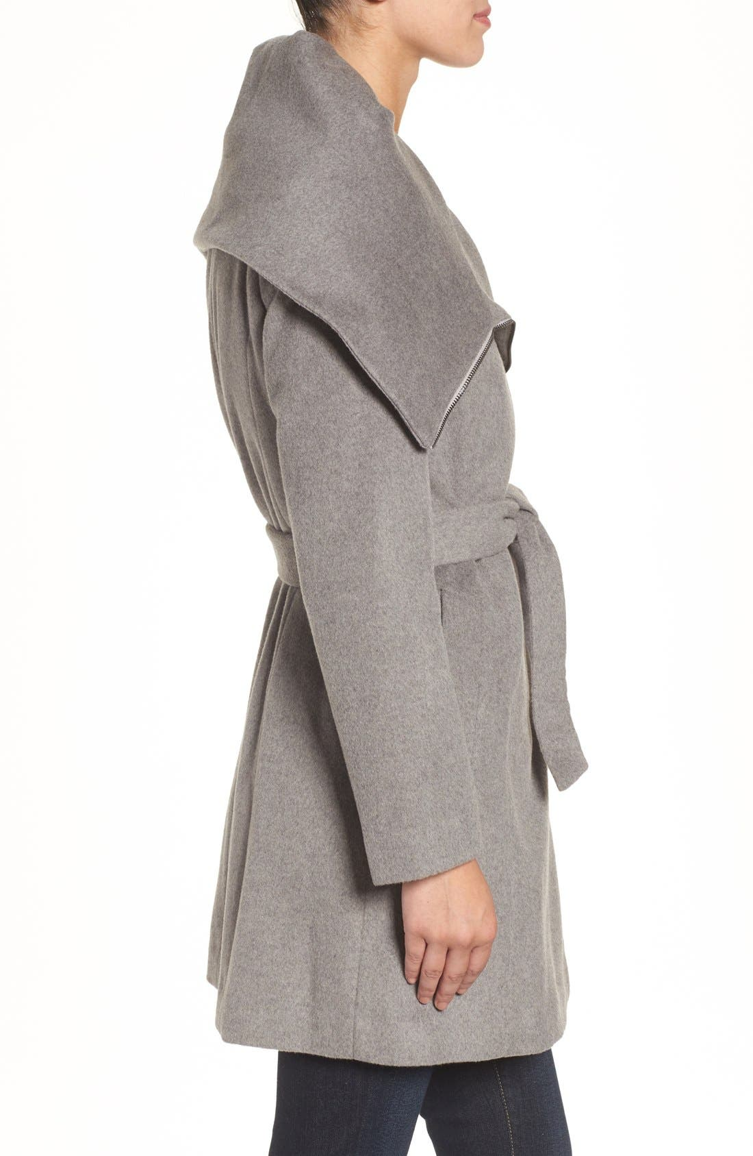 Alternate Image 3  - Cole Haan Signature Belted Asymmetrical Wool Blend Coat