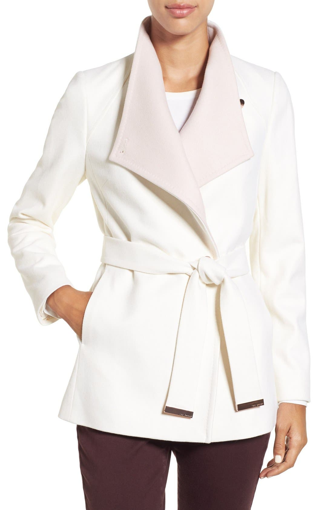 Main Image - Ted Baker London Wool Blend Wrap Coat