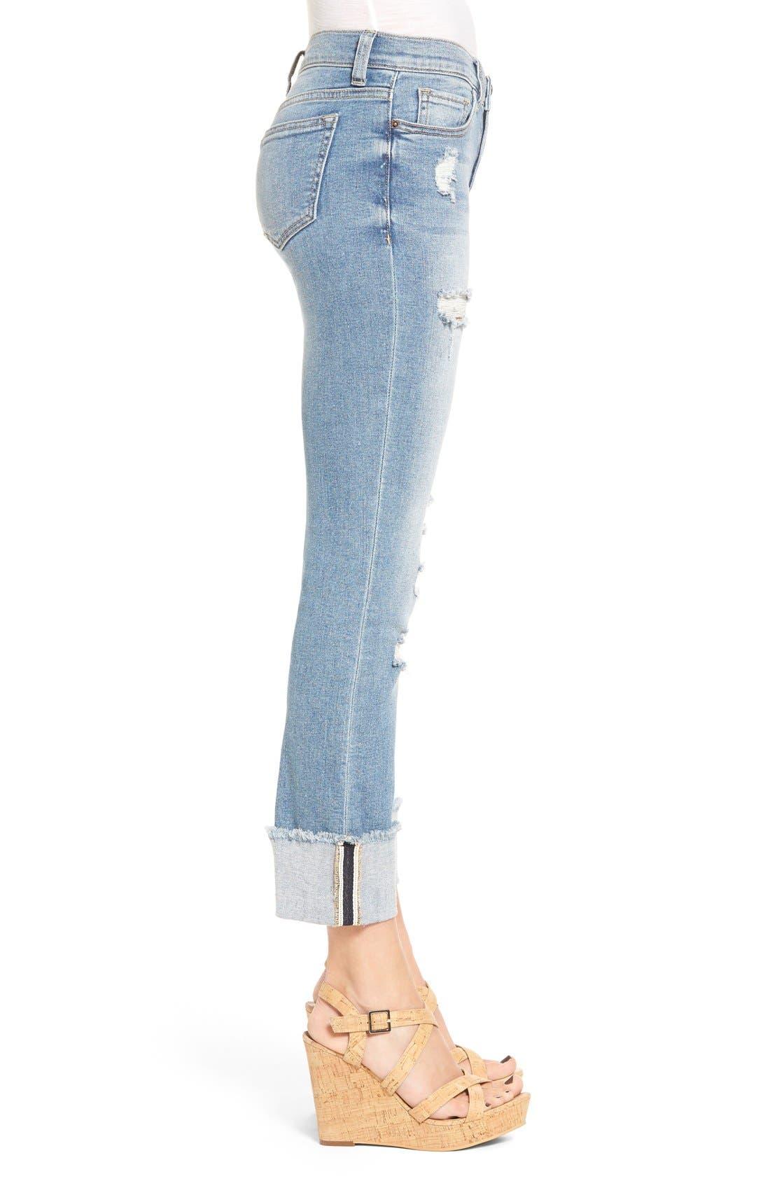 Alternate Image 3  - SP Black Distressed Cuffed Skinny Jeans