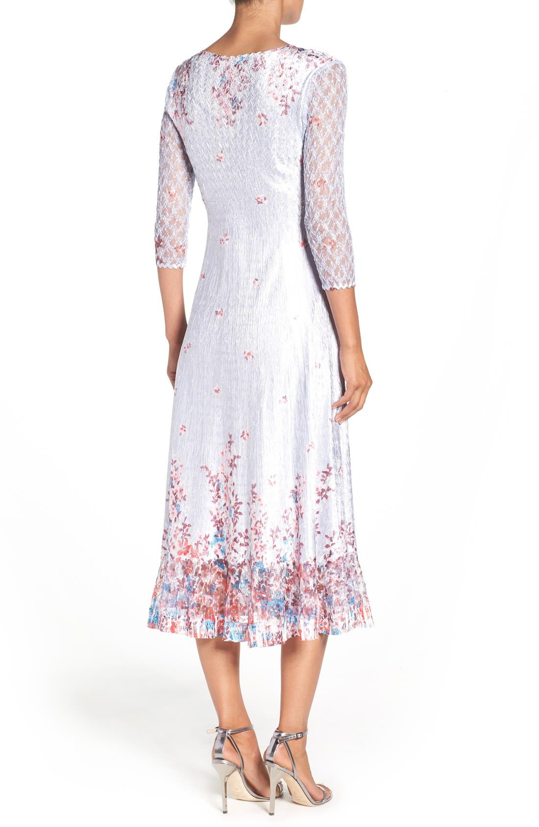 Alternate Image 2  - Komarov Floral Charmeuse & Lace A-Line Dress (Regular & Petite)
