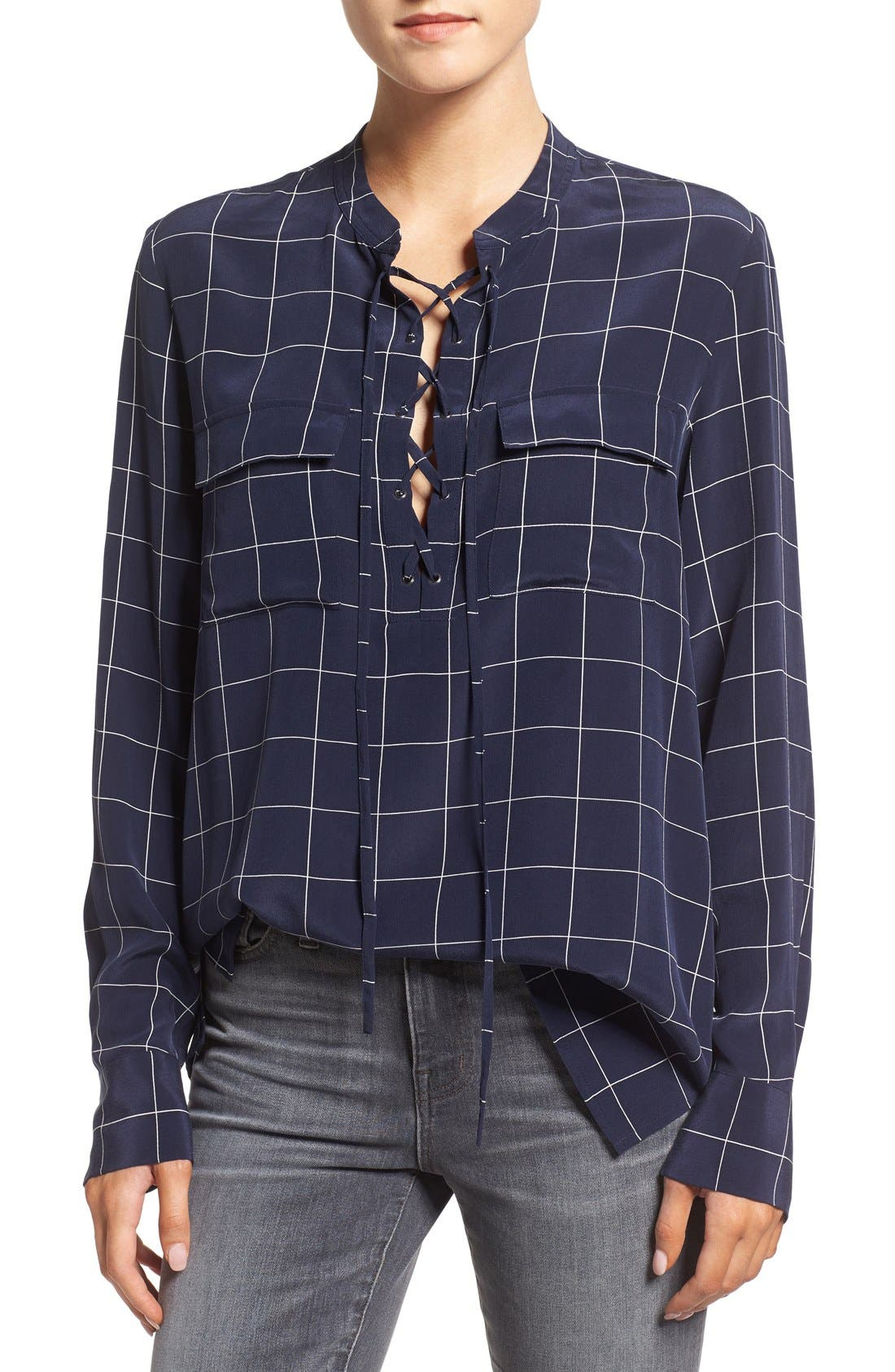 Alternate Image 1 Selected - Madewell 'Monroe' Plaid Lace-Up Silk Blouse