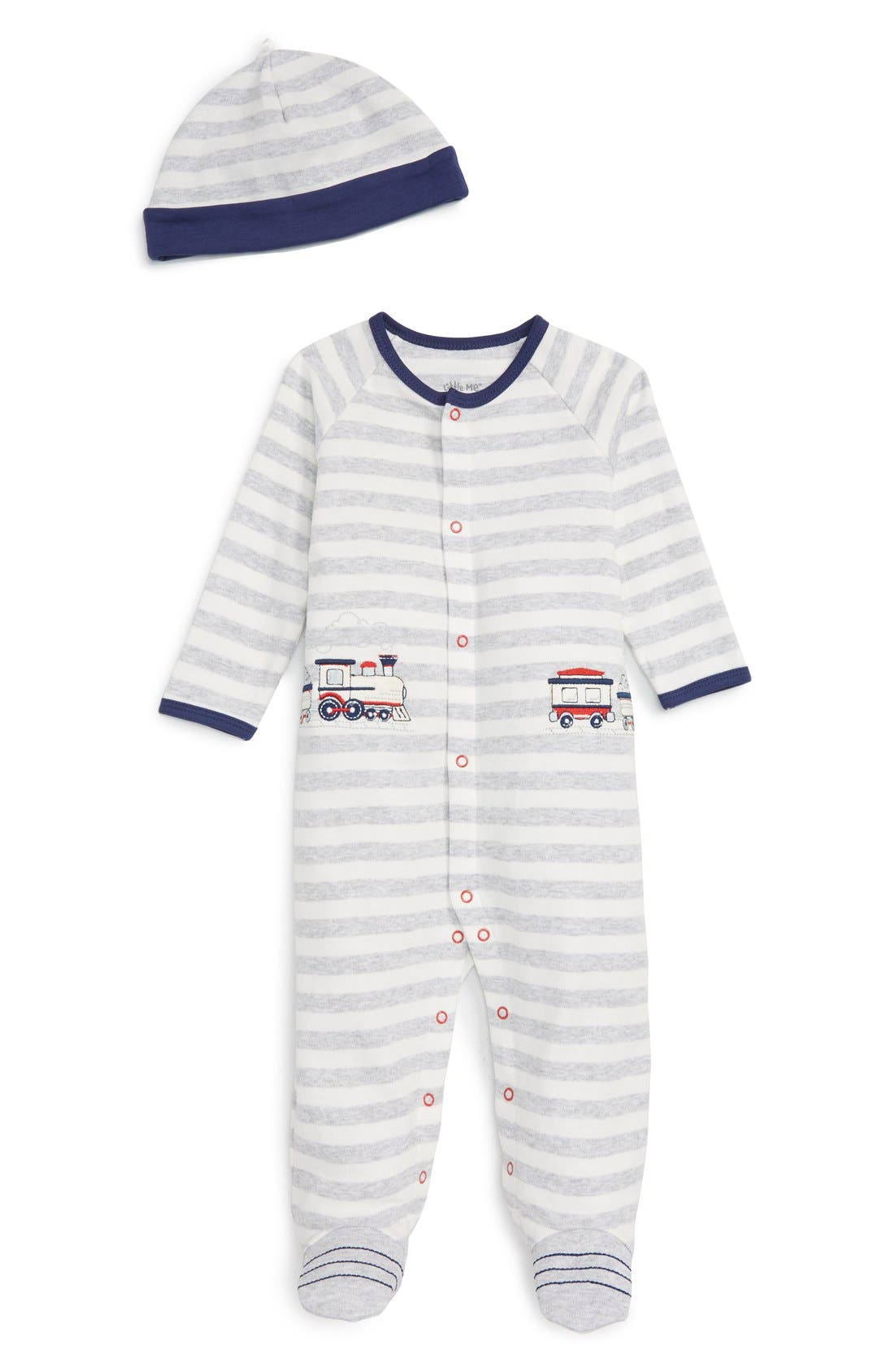 LITTLE ME 'Train' Footie & Hat Set