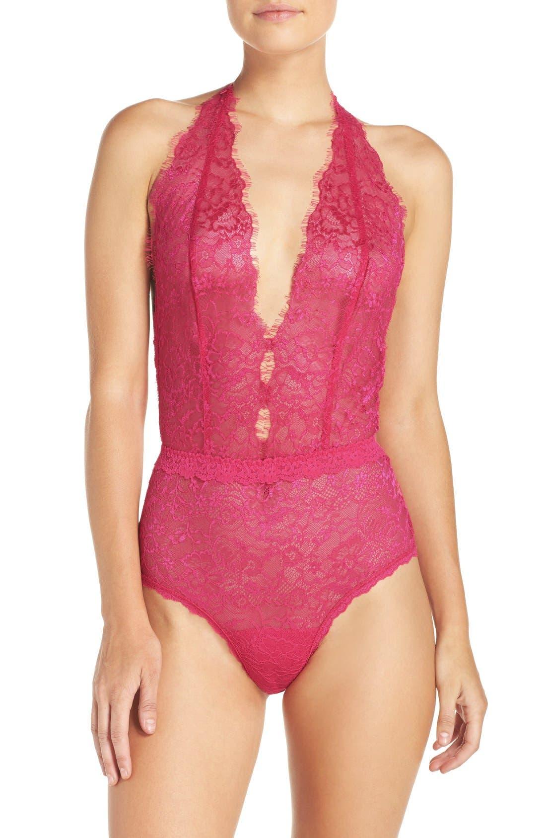 Alternate Image 1 Selected - Hanky Panky 'Wink' Halter Lace Bodysuit