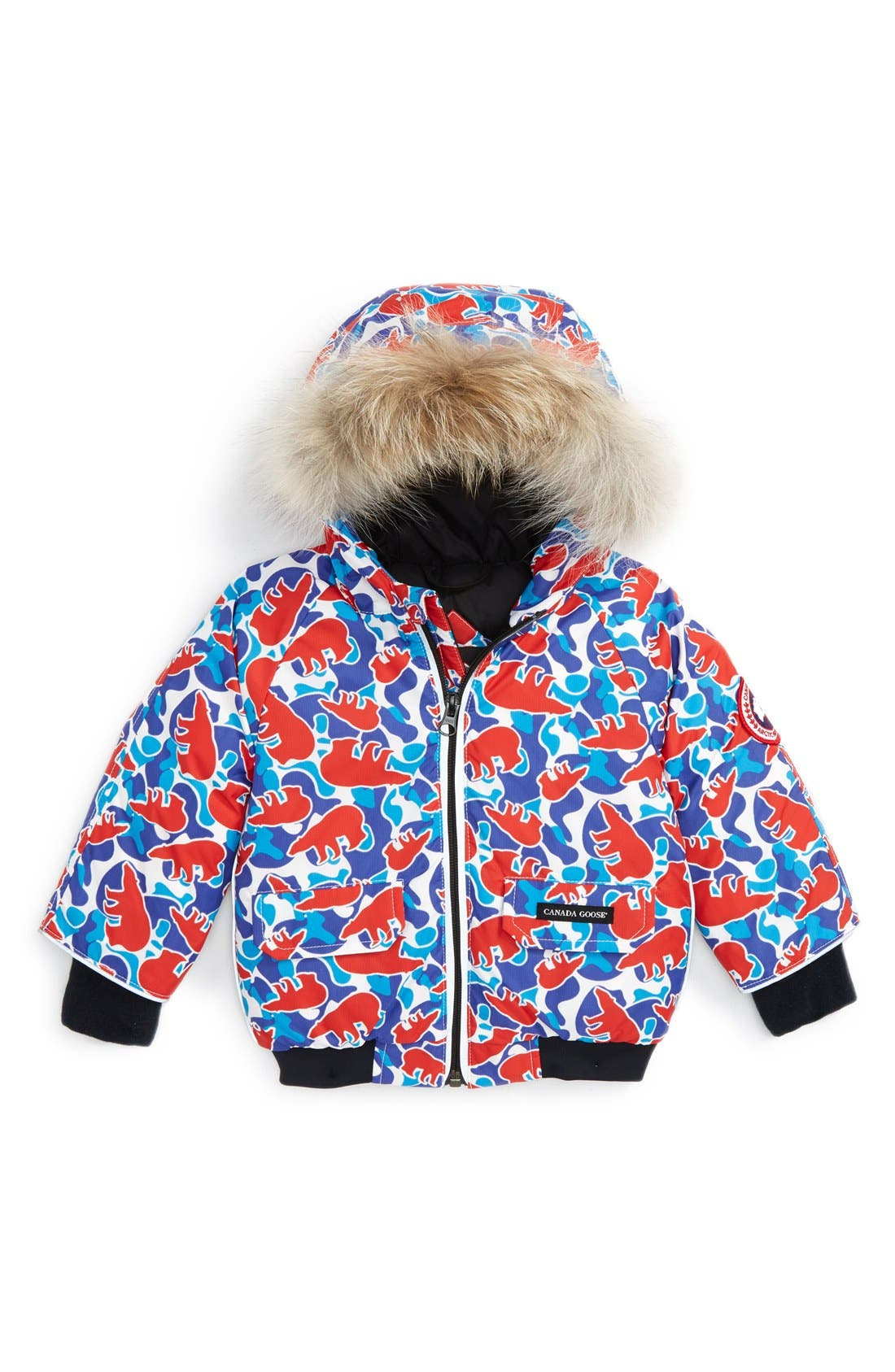 Alternate Image 1 Selected - Canada Goose 'Elijah' Down Bomber Jacket with Genuine Coyote Fur Trim (Baby)