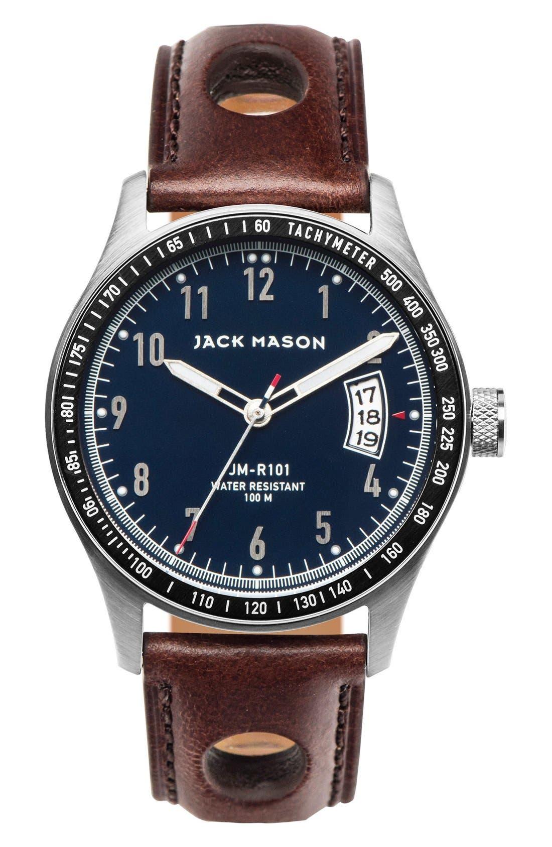 JACK MASON Leather Strap Watch, 42mm