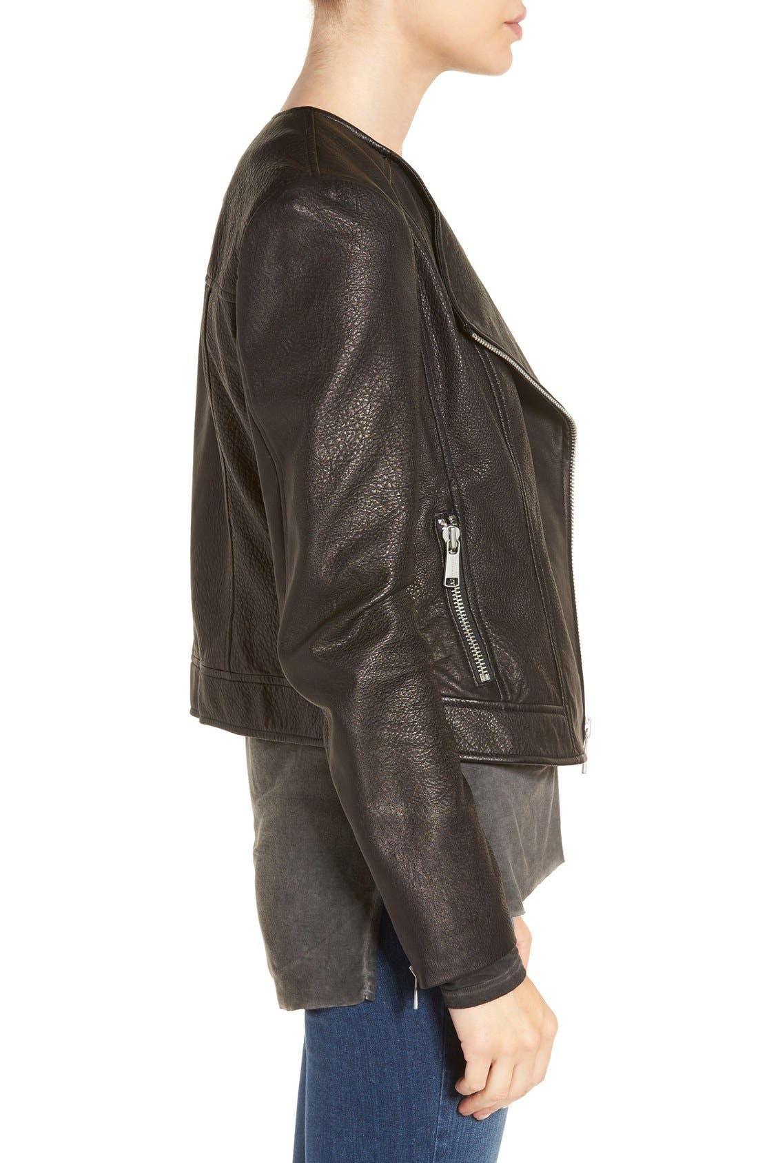 Alternate Image 3  - Andrew Marc 'Riley' Textured Leather Moto Jacket