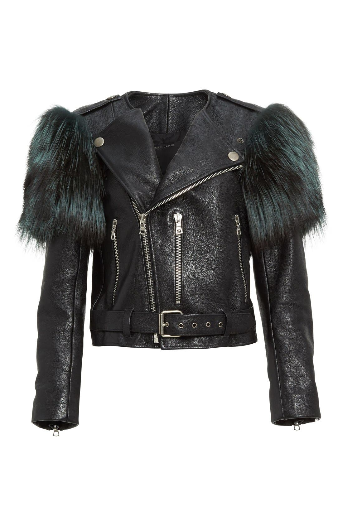 Alternate Image 4  - MARC JACOBS Leather Moto Jacket with Genuine Fox Fur Trim