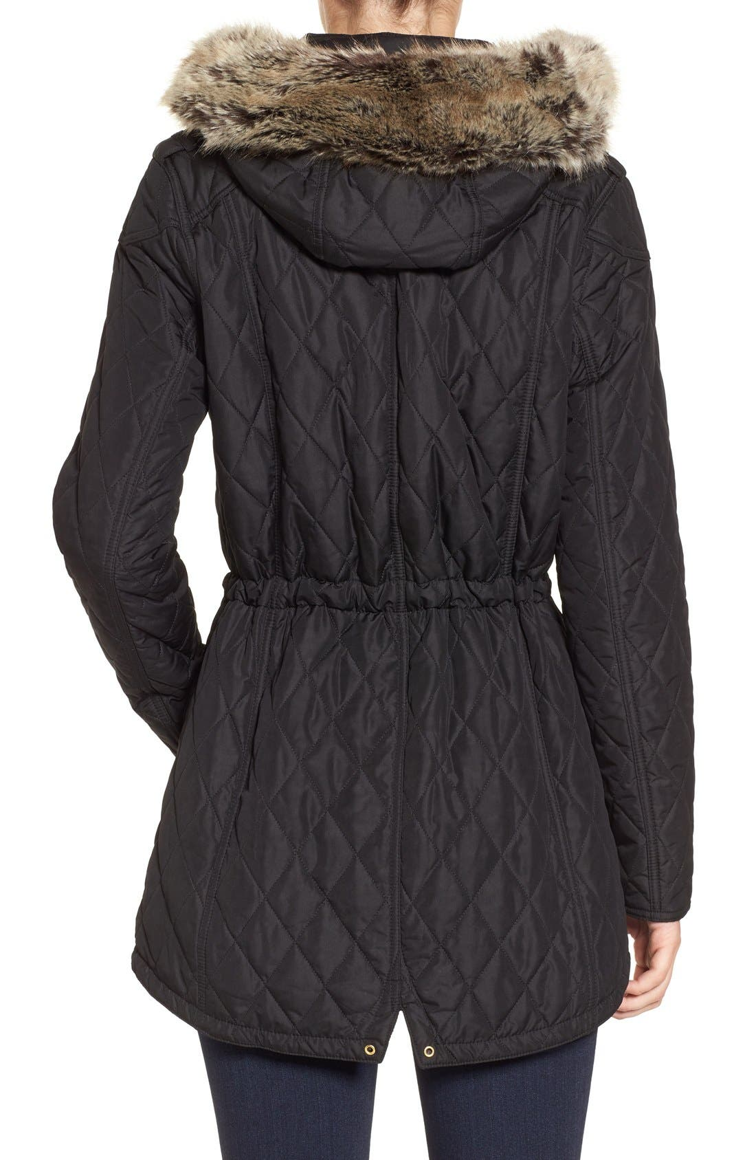 Alternate Image 2  - Barbour International Enduro Quilted Jacket with Faux Fur Trim Hood