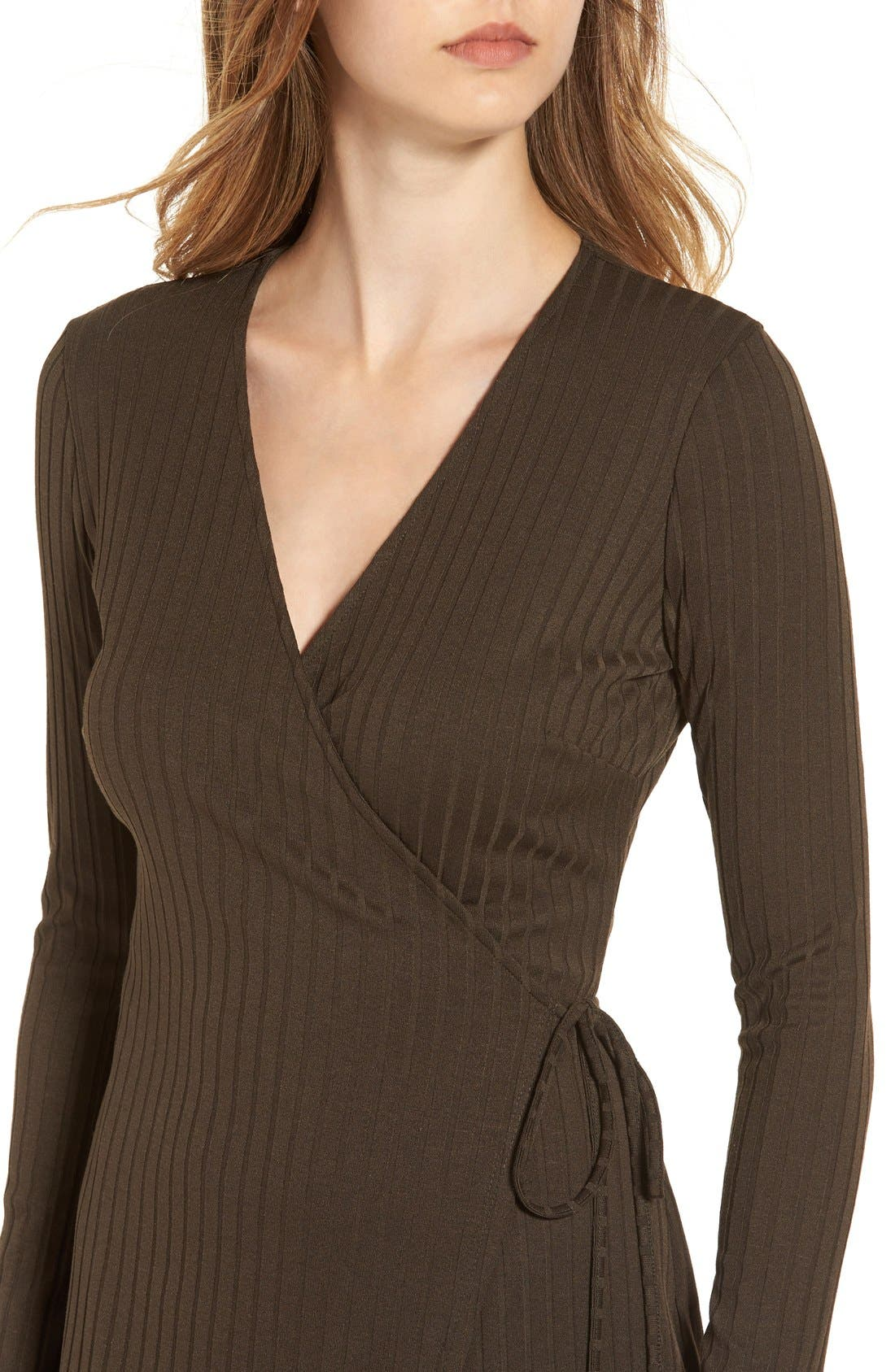 Alternate Image 4  - ASTR Rib Knit Wrap Dress