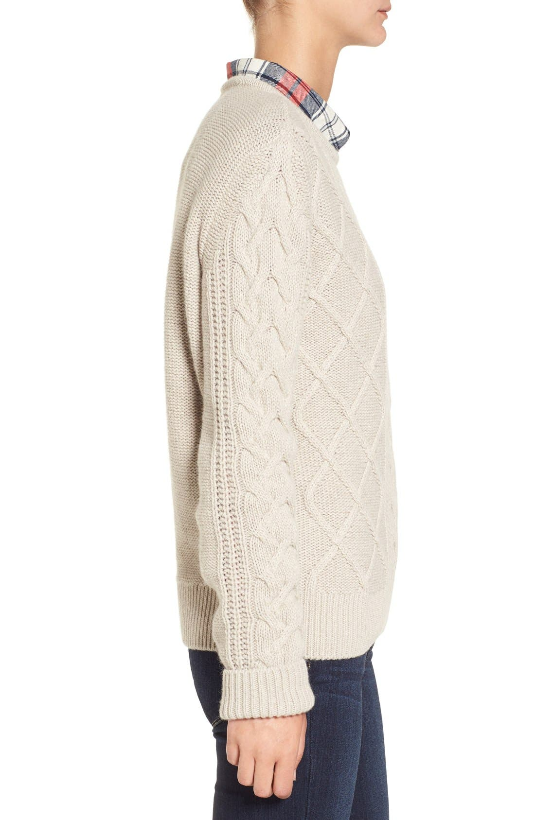 Alternate Image 3  - Barbour 'Tidewater' Cable Knit Crewneck Sweater