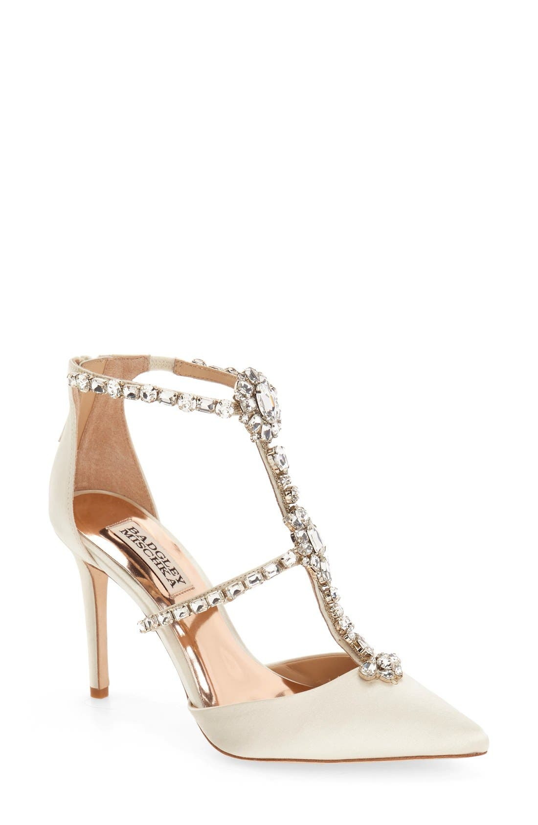 Alternate Image 1 Selected - Badgley Mischka 'Decker' Crystal Embellished T-Strap Pump (Women)