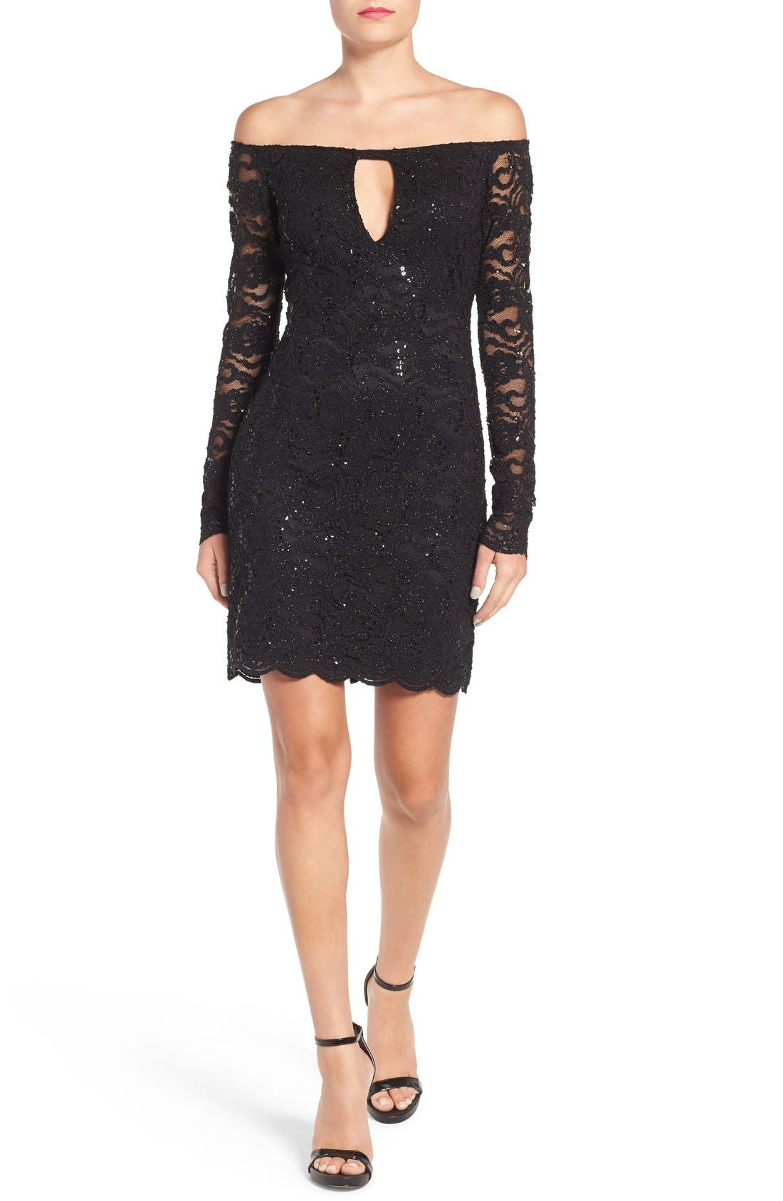 Alternate Image 1 Selected - Jump Apparel Lace Off the Shoulder Body-Con Dress