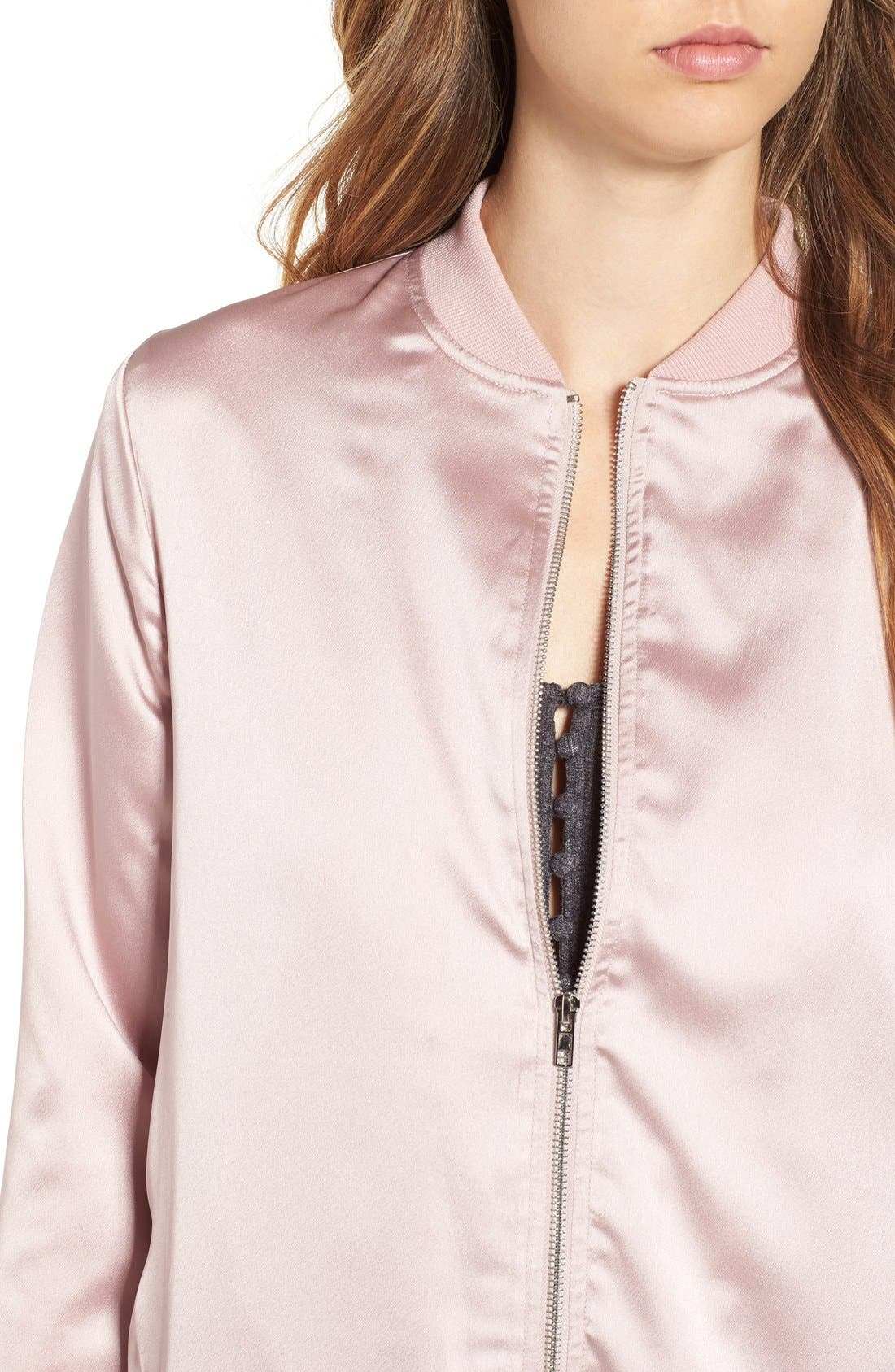 Alternate Image 4  - Missguided Satin Longline Bomber Jacket