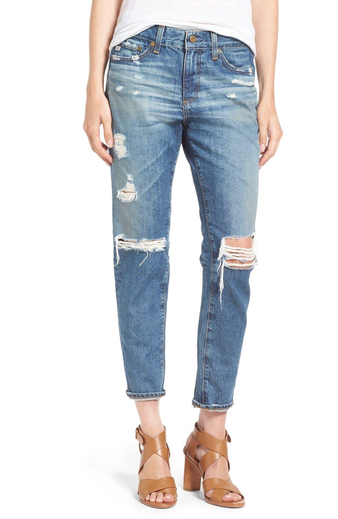 Main Image - AG 'The Beau' Skinny Boyfriend Jeans (16 Years Hourglass Sand)
