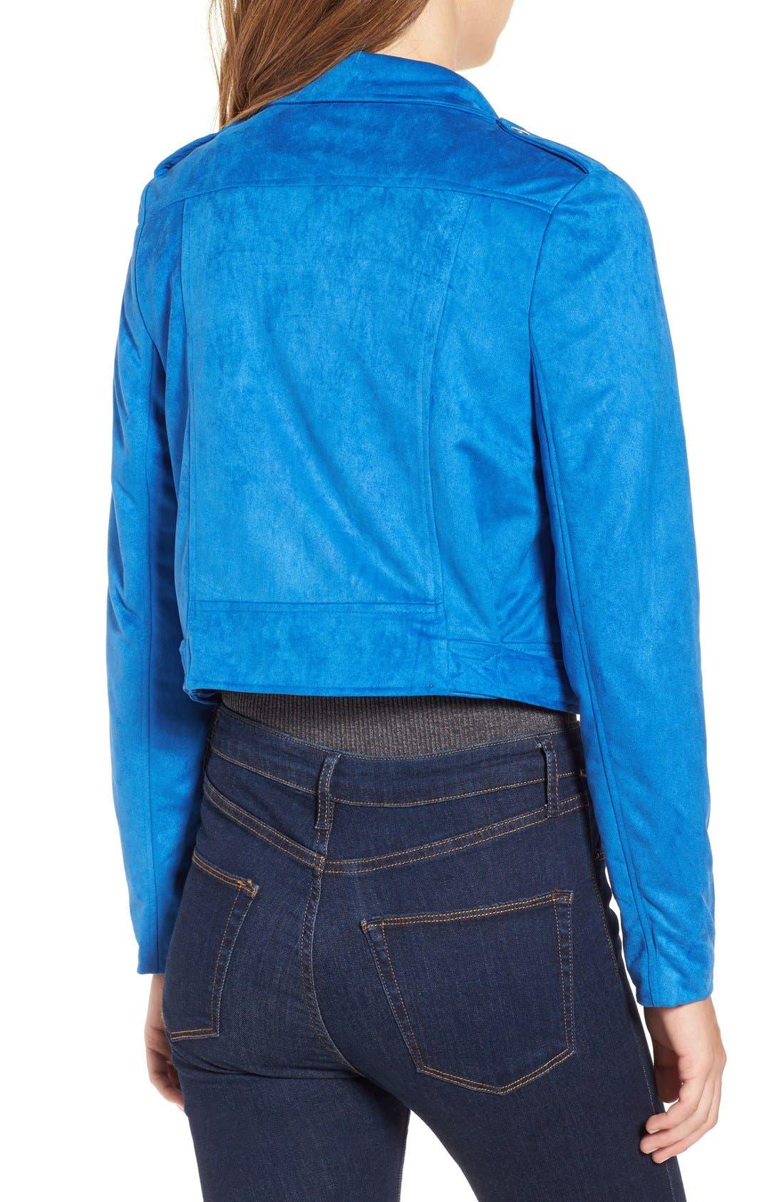 Alternate Image 2  - Missguided Crop Faux Suede Moto Jacket