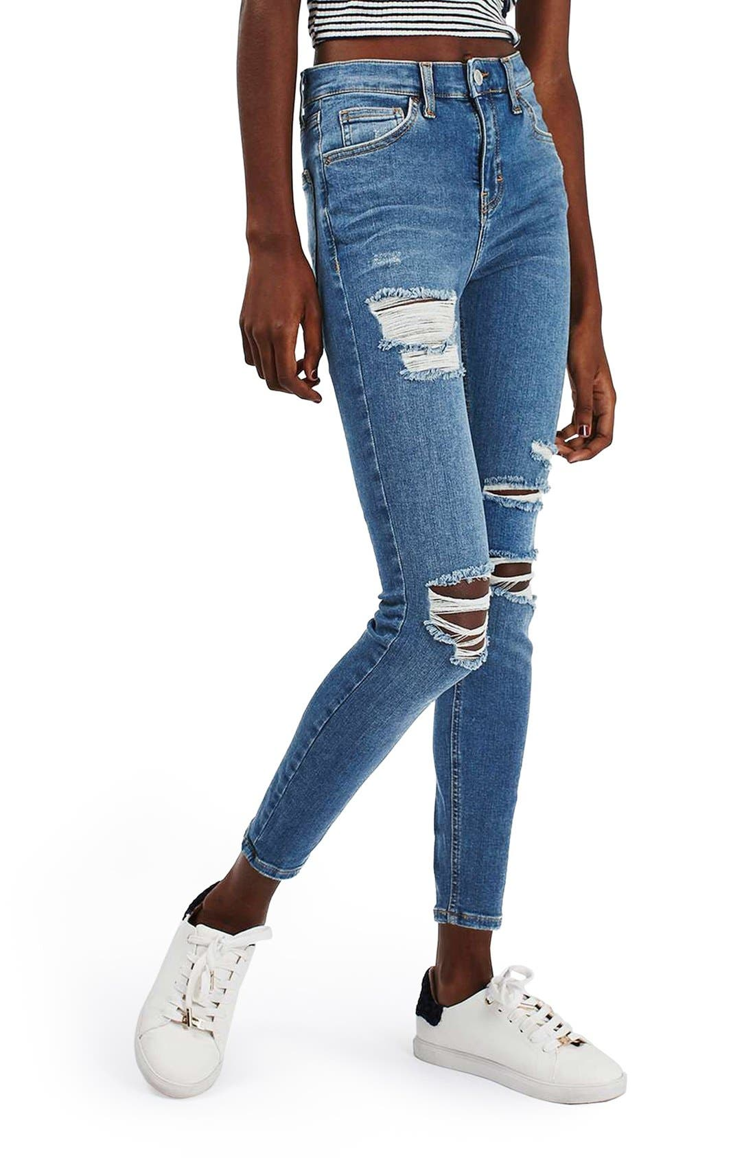 Main Image - Topshop 'Jamie' Ripped High Rise Ankle Skinny Jeans (Petite)
