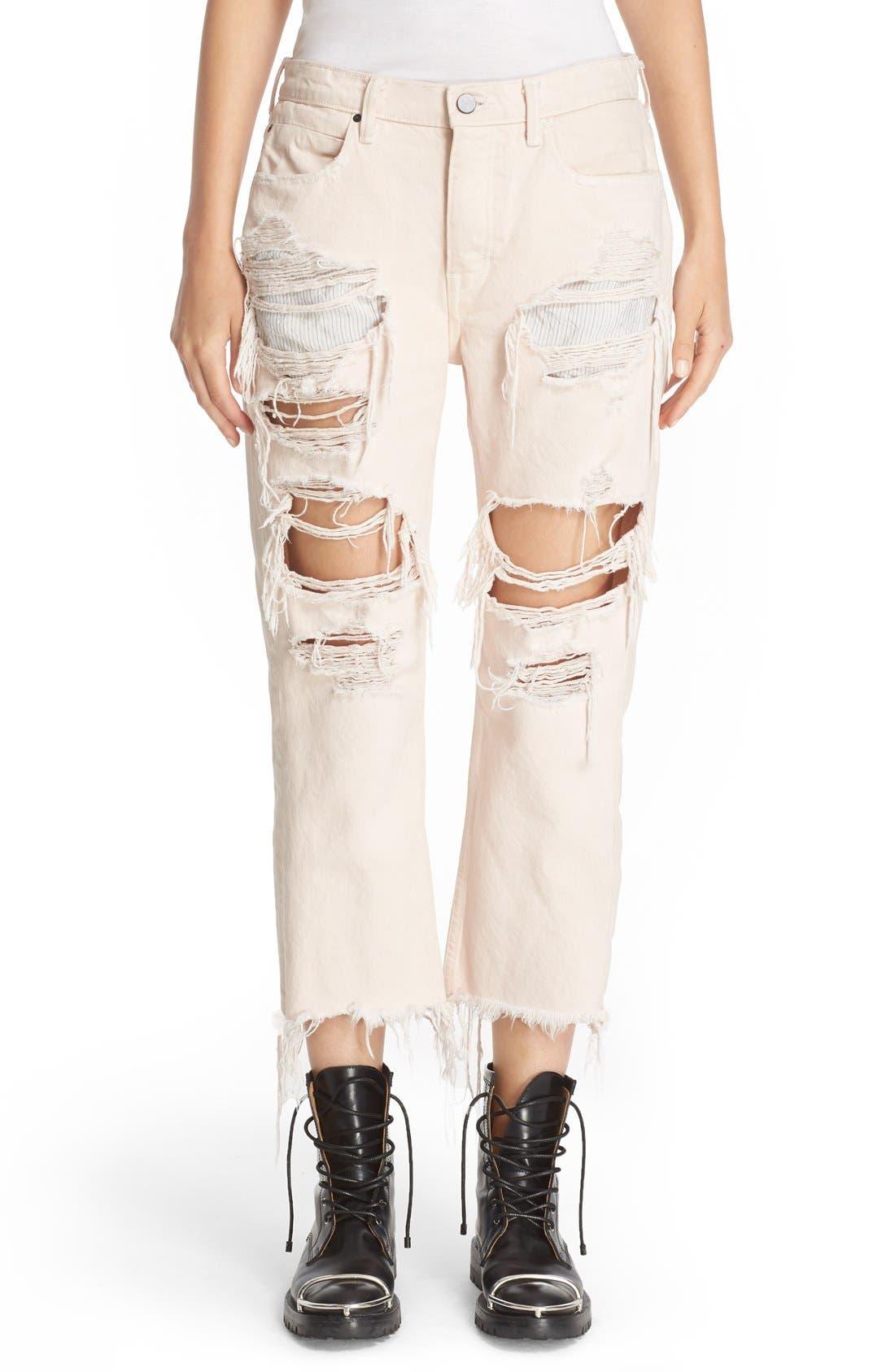 Alternate Image 2  - Alexander Wang 'Rival' Destroyed Cutoff Jeans (Carnation)