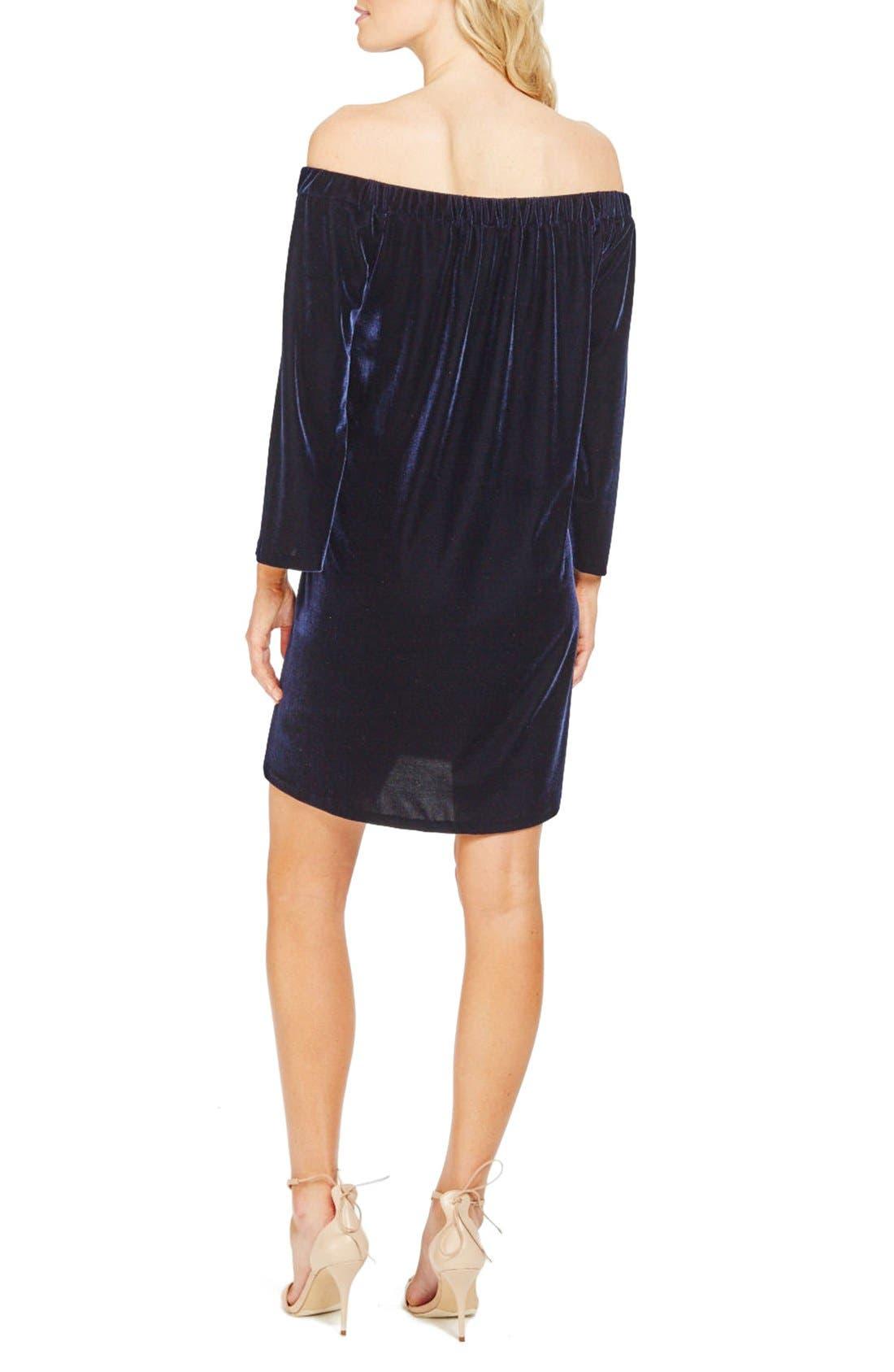 Alternate Image 2  - Donna Morgan Stretch Velvet Shift Dress