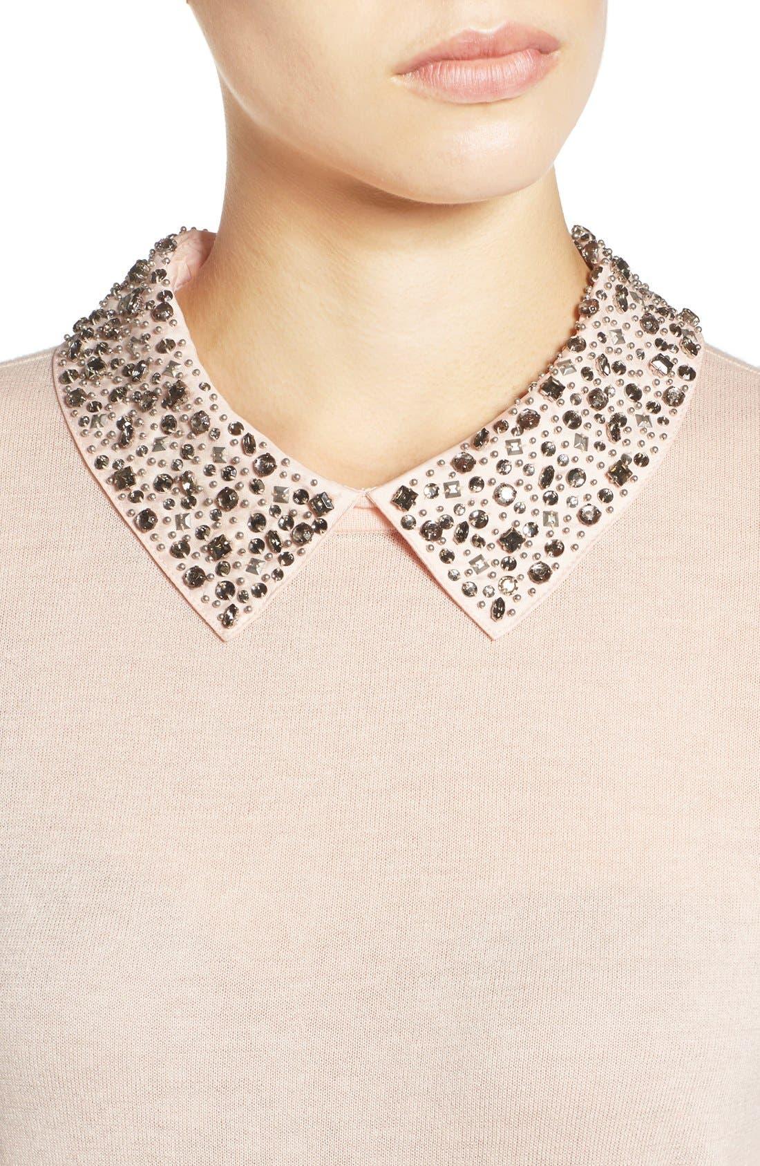 Alternate Image 4  - Halogen® Embellished Collar Sweater (Regular & Petite)