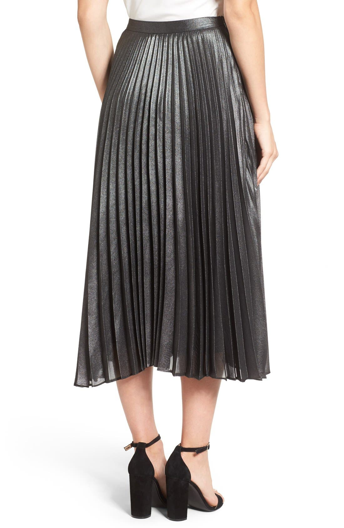 Alternate Image 2  - Halogen® Pleated Lurex® Midi Skirt (Regular & Petite)