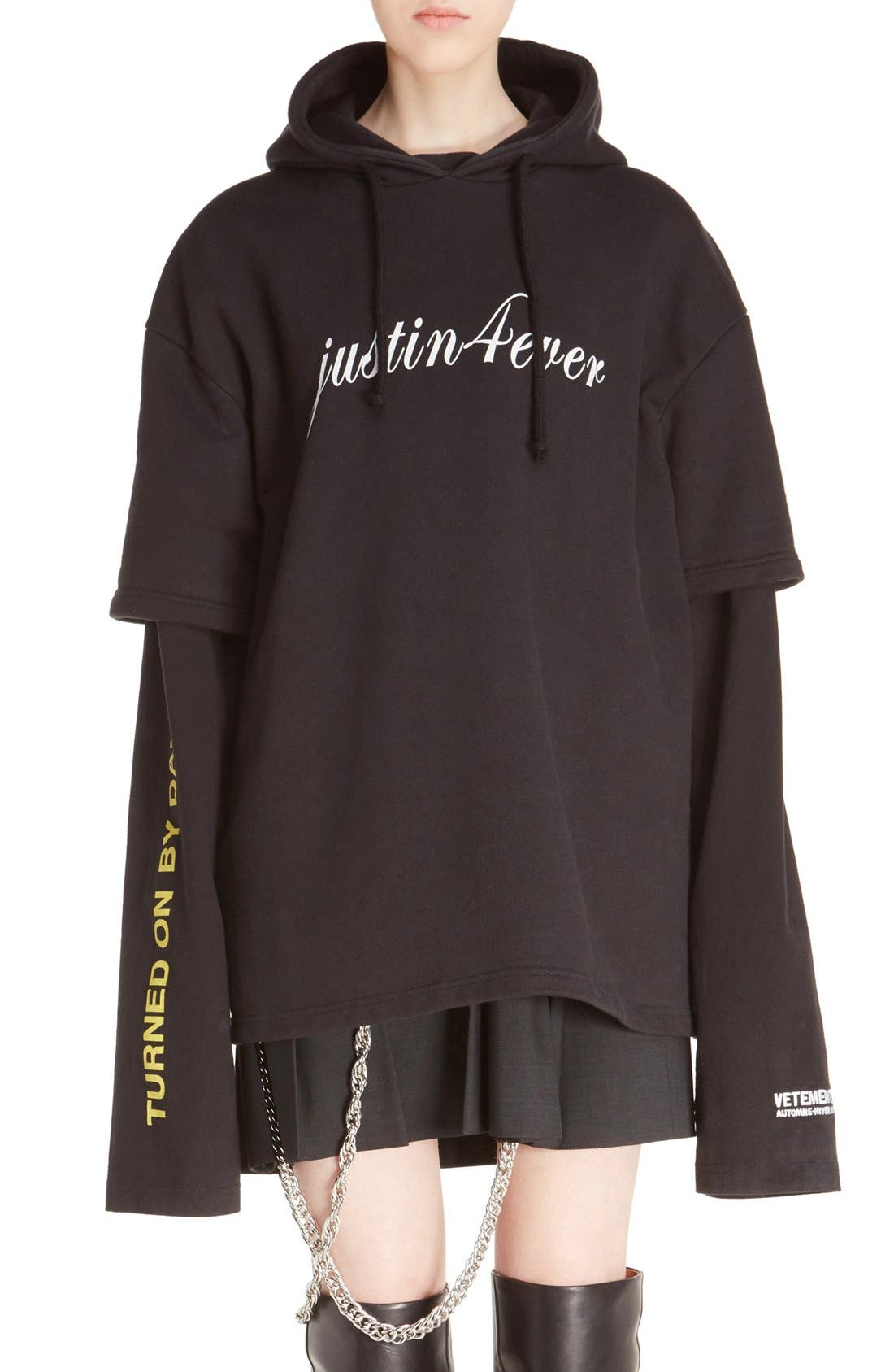 Alternate Image 1 Selected - Vetements 'Justin4Ever' Double Sleeve Graphic Hoodie Dress
