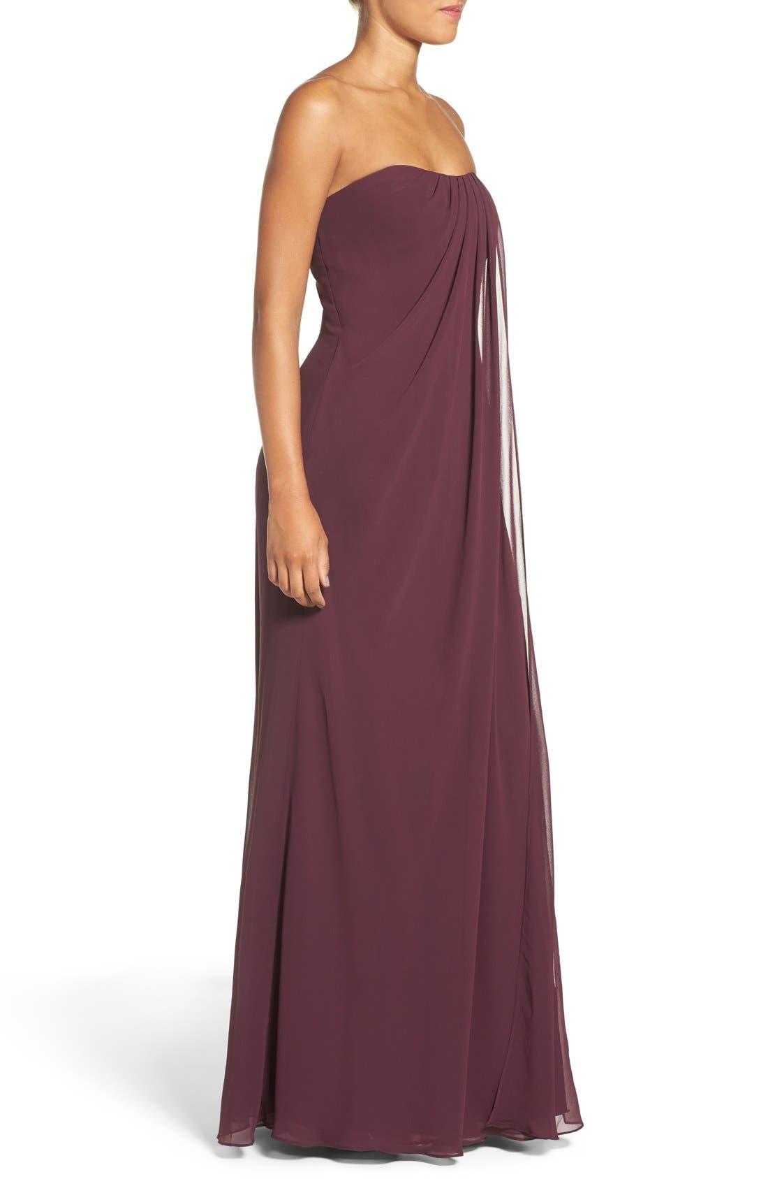 Alternate Image 3  - Jenny Yoo 'Raquel' Front Slit Strapless Chiffon Gown