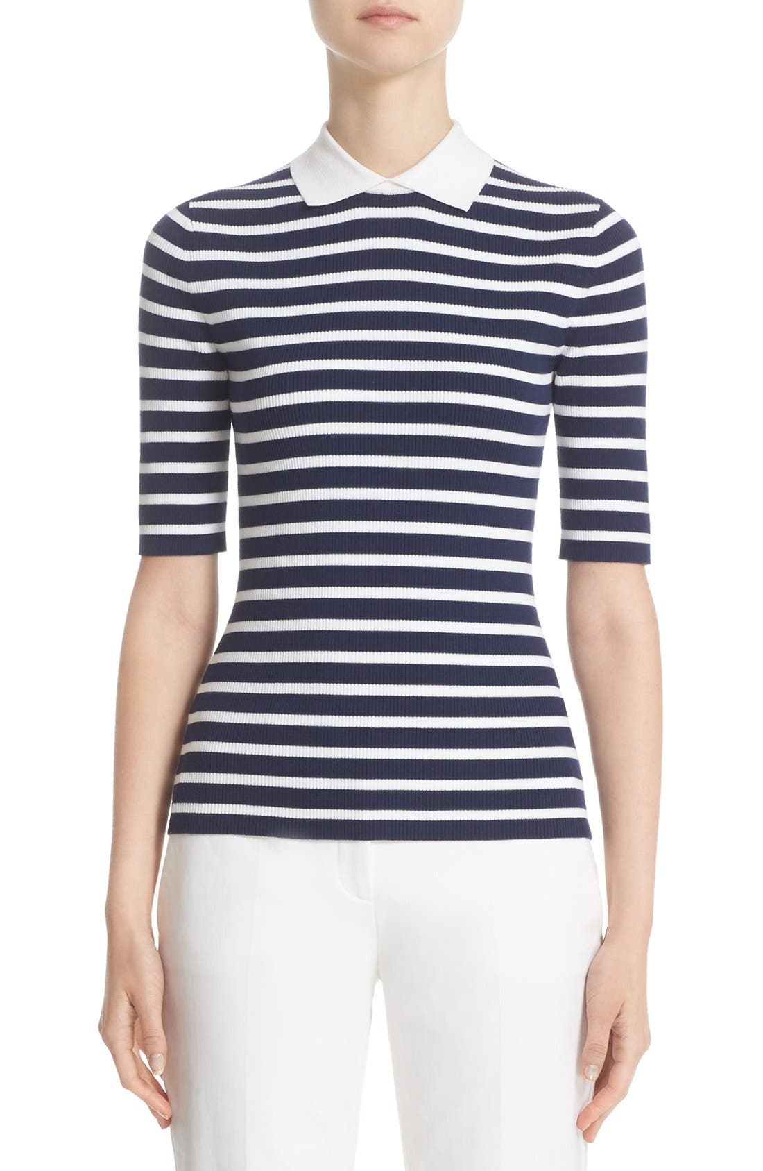 MICHAEL KORS Stripe Elbow Sleeve Top