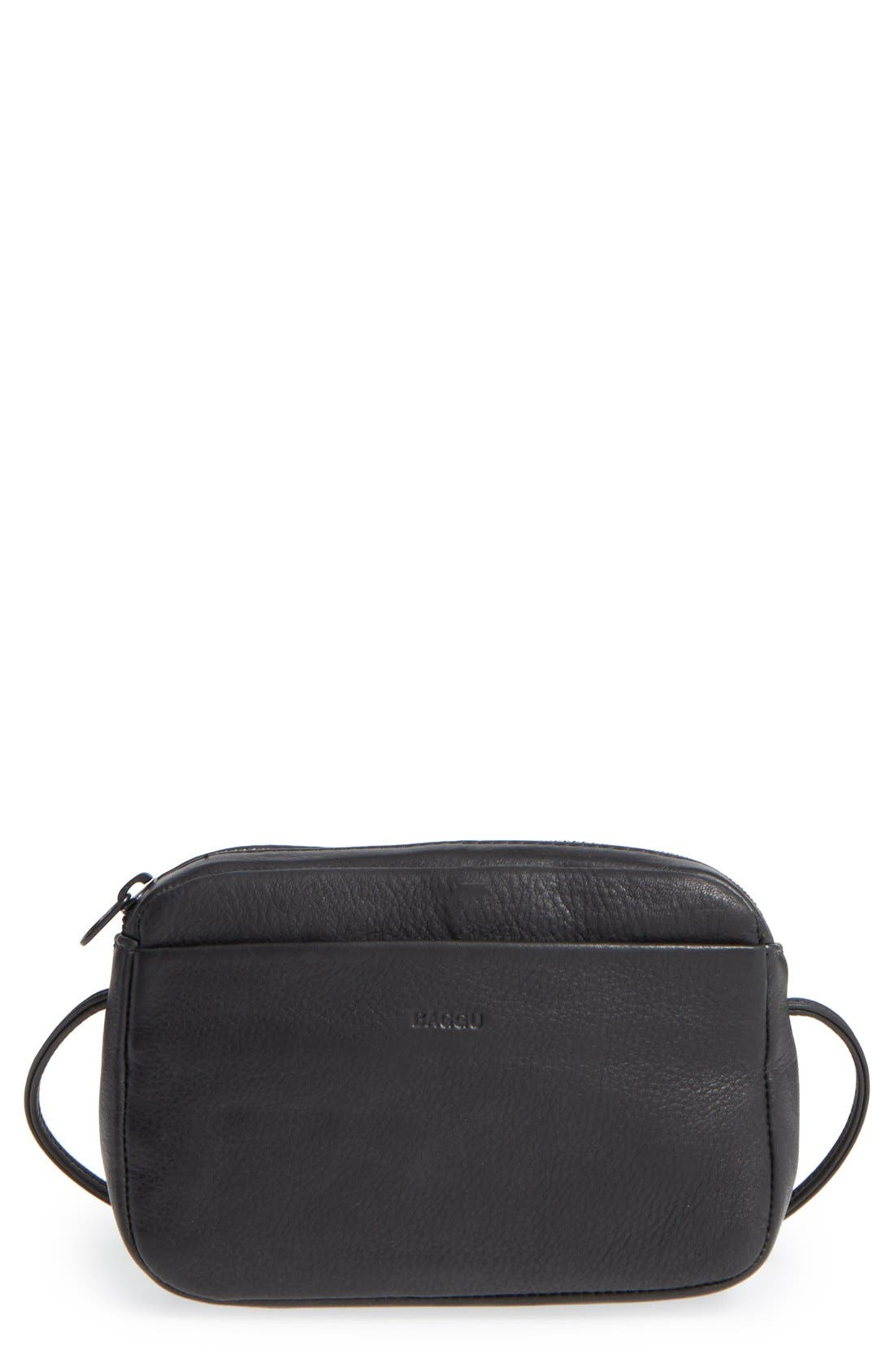 Baggu 'Mini' Pebbled Leather Crossbody