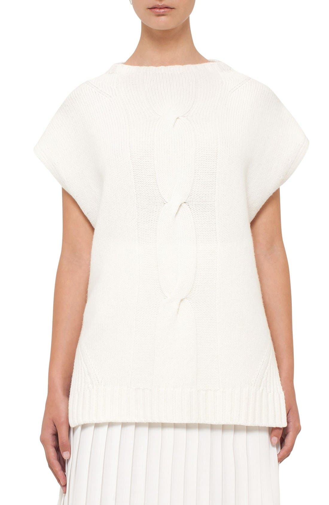 AKRIS PUNTO Wool & Cashmere Cap Sleeve Sweater
