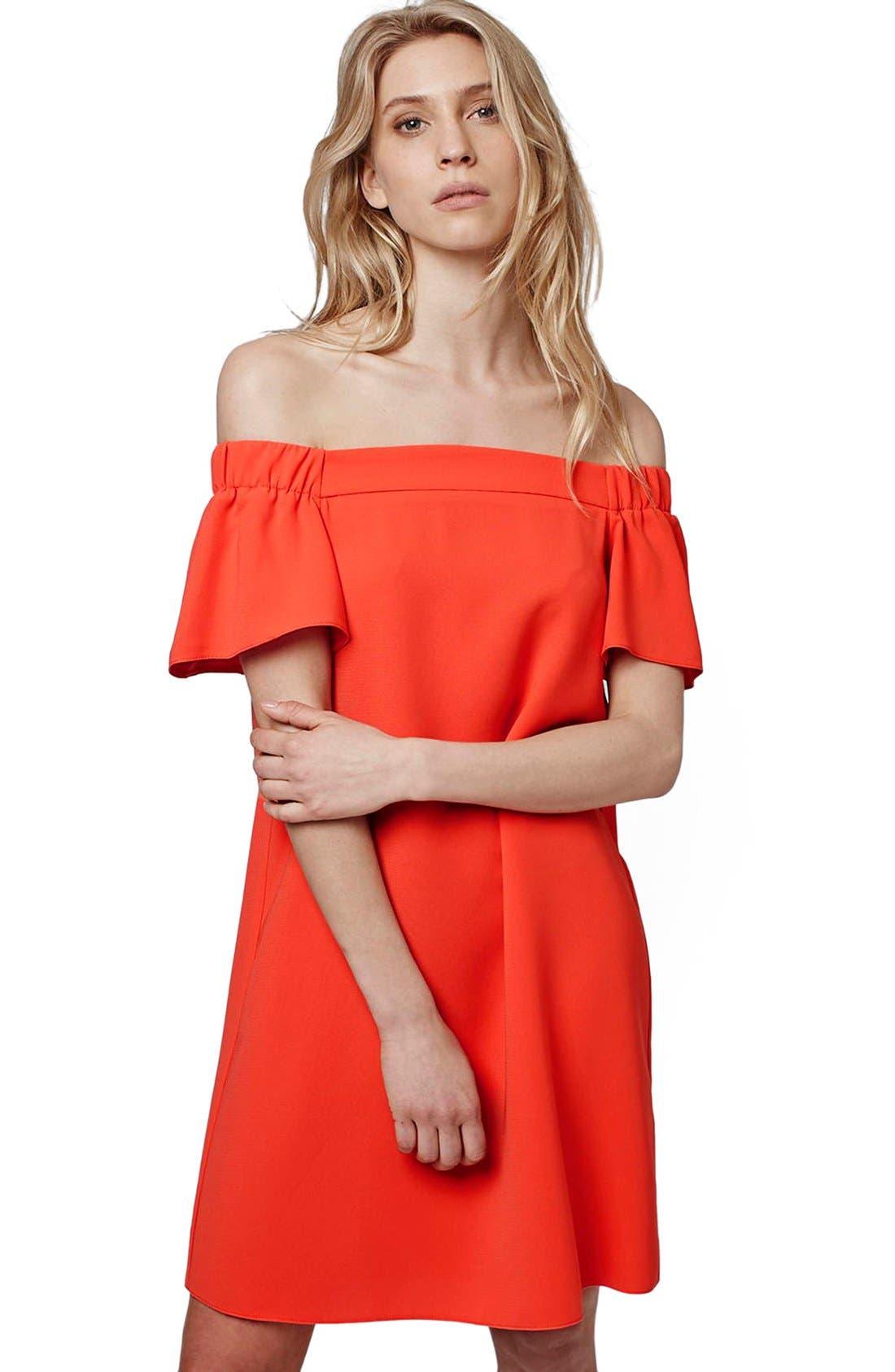 Alternate Image 3  - Topshop Off the Shoulder Trapeze Dress (Regular & Petite)